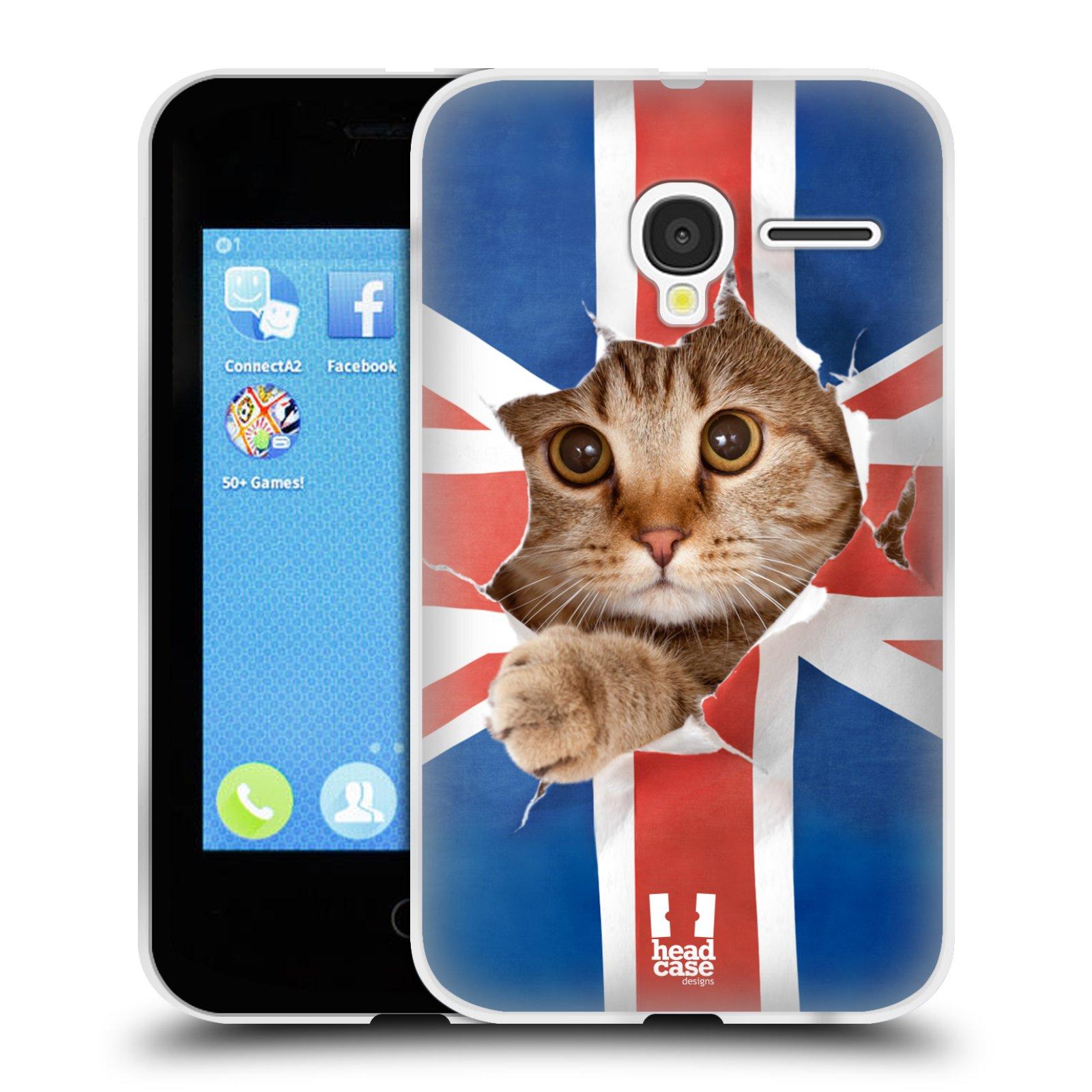 HEAD CASE silikonový obal na mobil Alcatel PIXI 3 OT-4022D (3,5 palcový displej) vzor Legrační zvířátka kočička a Velká Británie vlajka