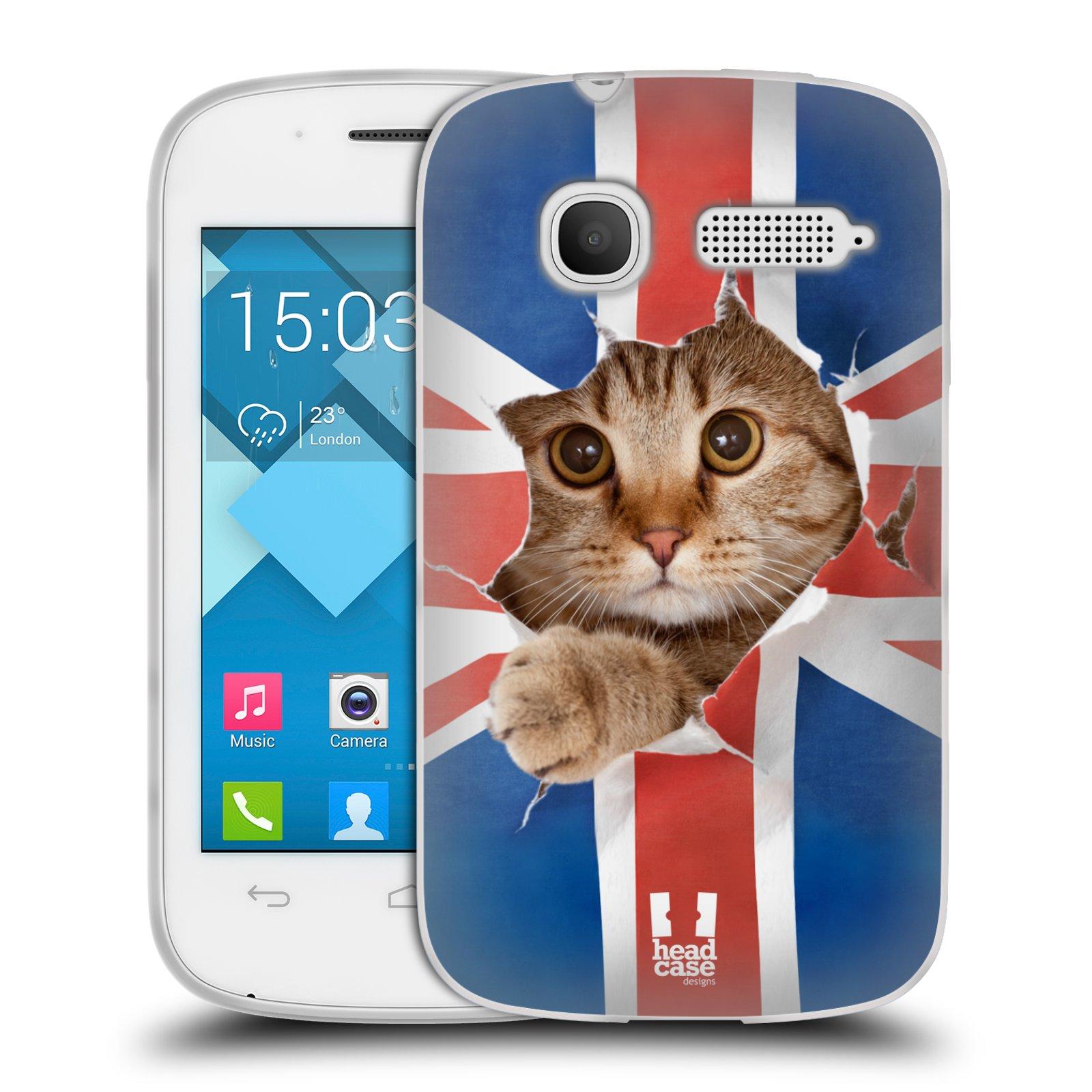 HEAD CASE silikonový obal na mobil Alcatel POP C1 OT-4015D vzor Legrační zvířátka kočička a Velká Británie vlajka