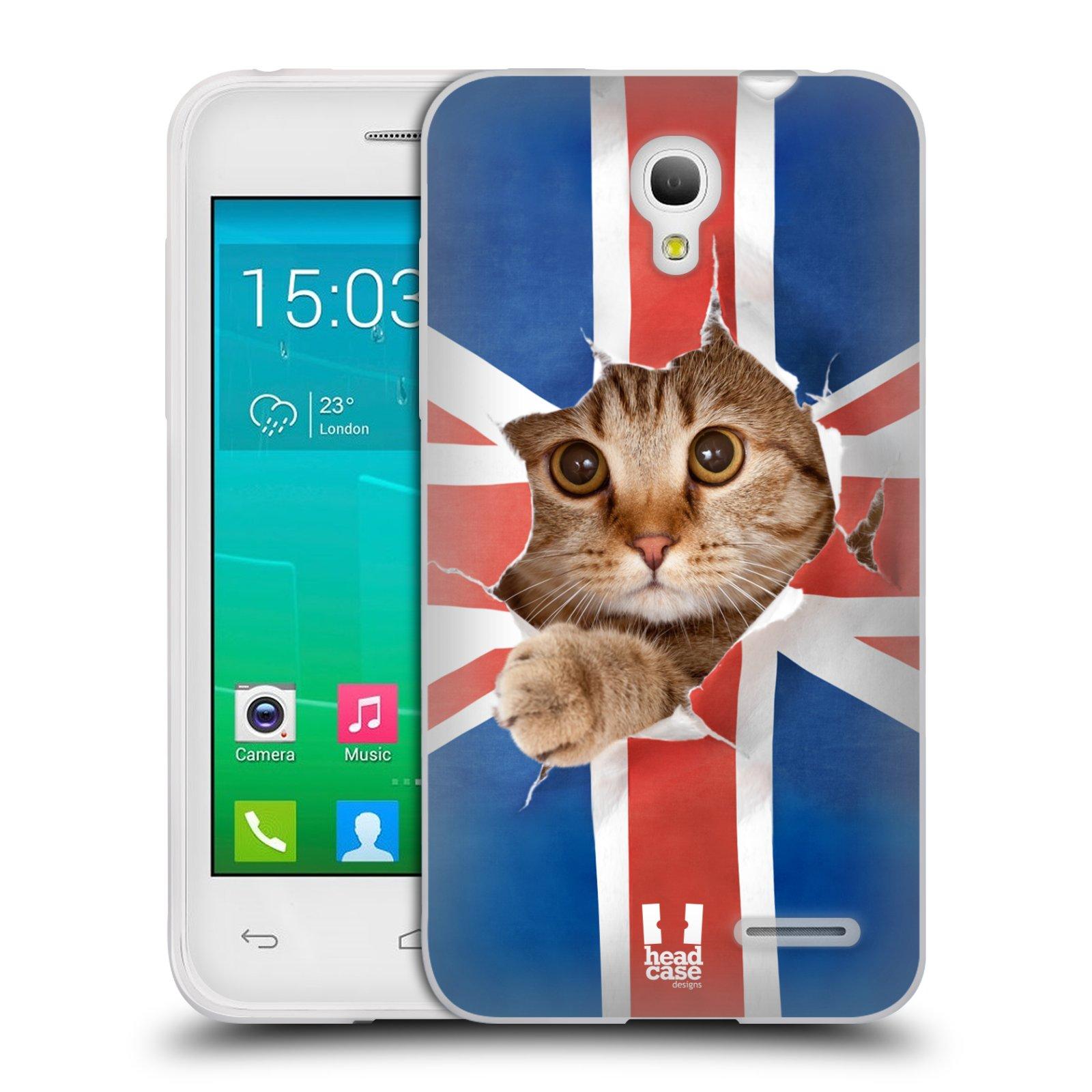 HEAD CASE silikonový obal na mobil Alcatel POP S3 OT-5050Y vzor Legrační zvířátka kočička a Velká Británie vlajka