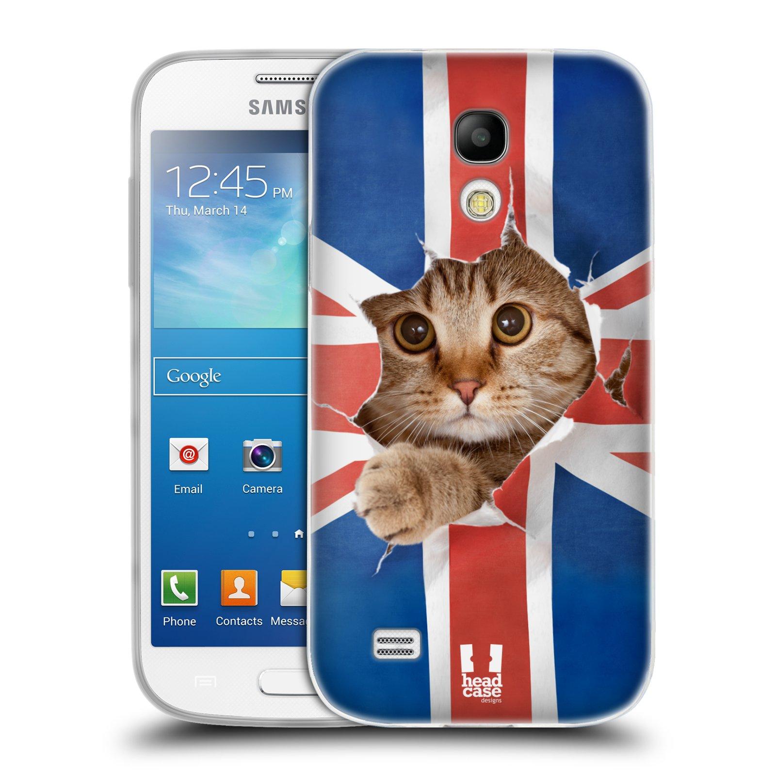 HEAD CASE silikonový obal na mobil Samsung Galaxy S4 MINI vzor Legrační zvířátka kočička a Velká Británie vlajka