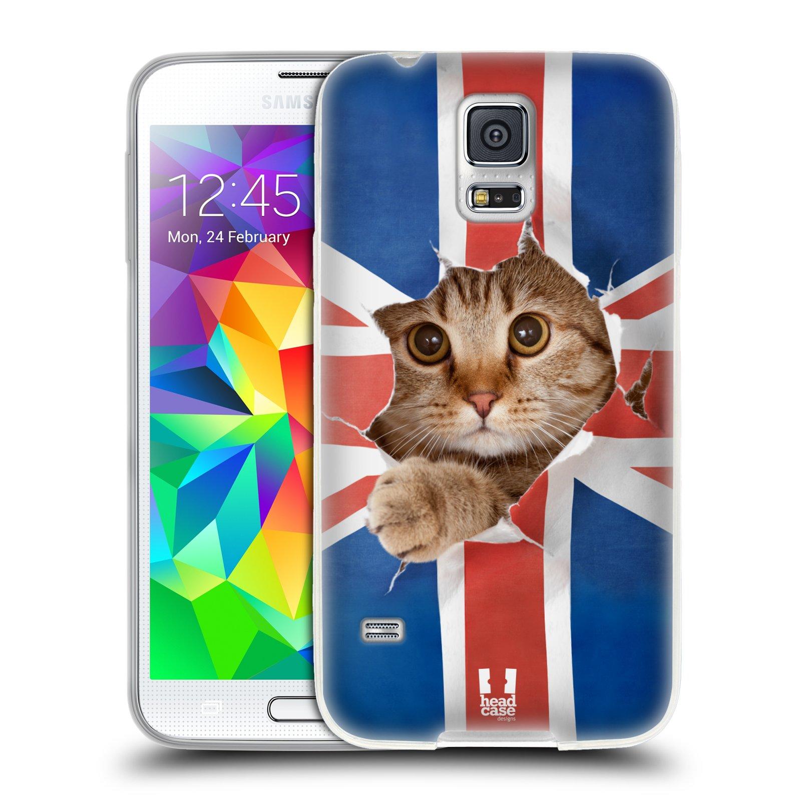 HEAD CASE silikonový obal na mobil Samsung Galaxy S5/S5 NEO vzor Legrační zvířátka kočička a Velká Británie vlajka