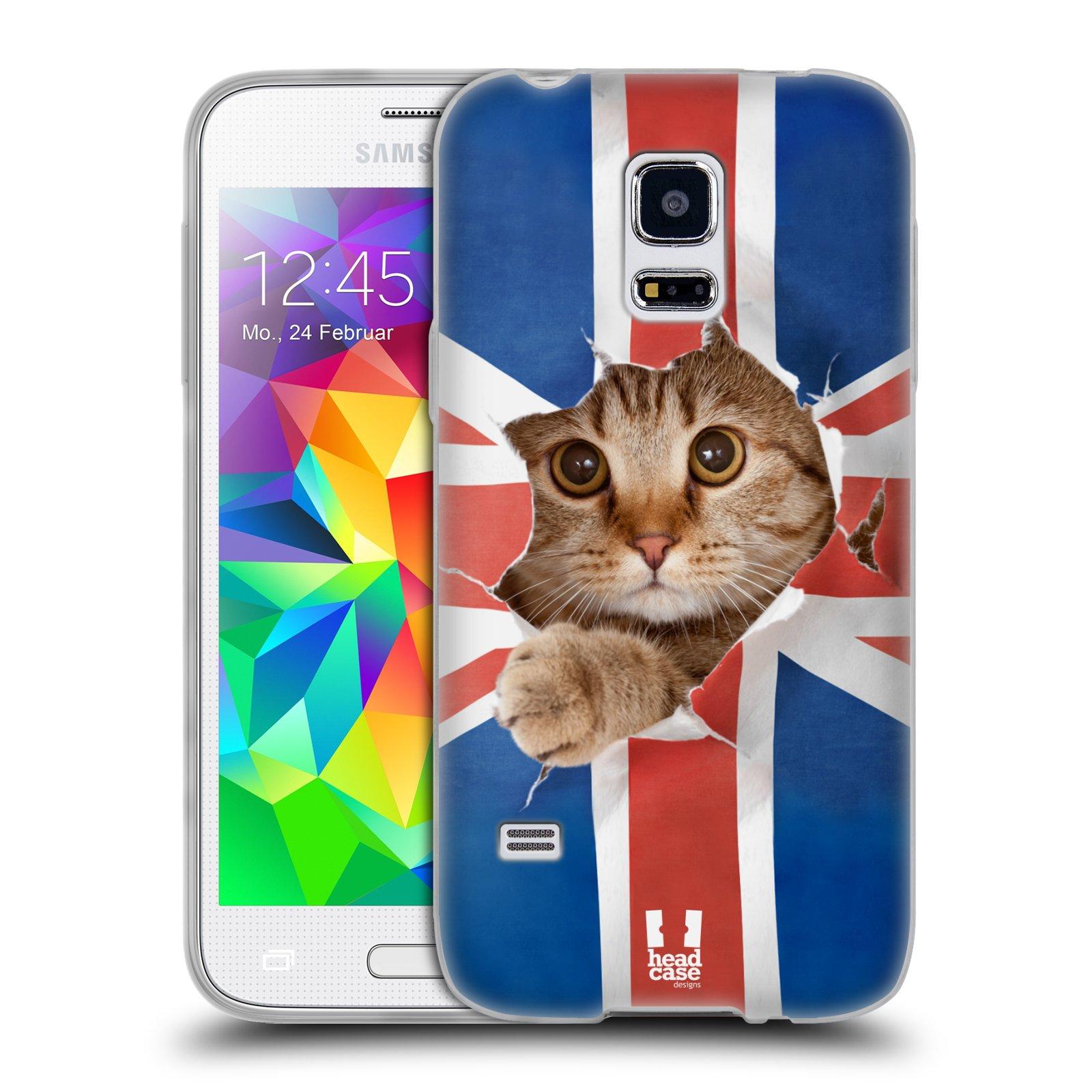 HEAD CASE silikonový obal na mobil Samsung Galaxy S5 MINI vzor Legrační zvířátka kočička a Velká Británie vlajka