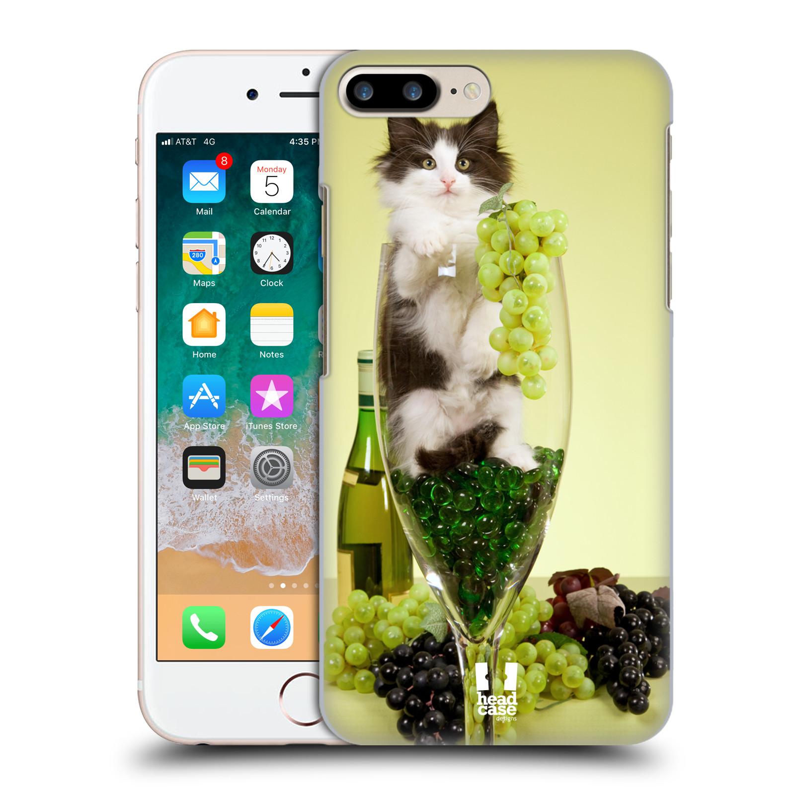 HEAD CASE plastový obal na mobil Apple Iphone 7 PLUS vzor Legrační zvířátka kočička s vínem