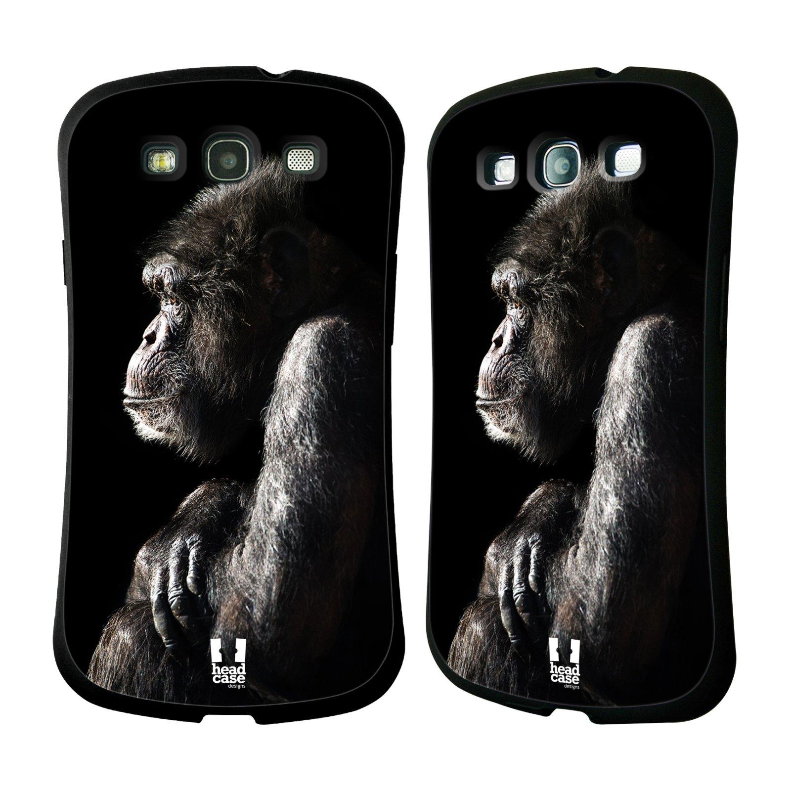 HEAD CASE silikon/plast odolný obal na mobil Samsung Galaxy S3 vzor Divočina, Divoký život a zvířata foto ŠIMPANZ