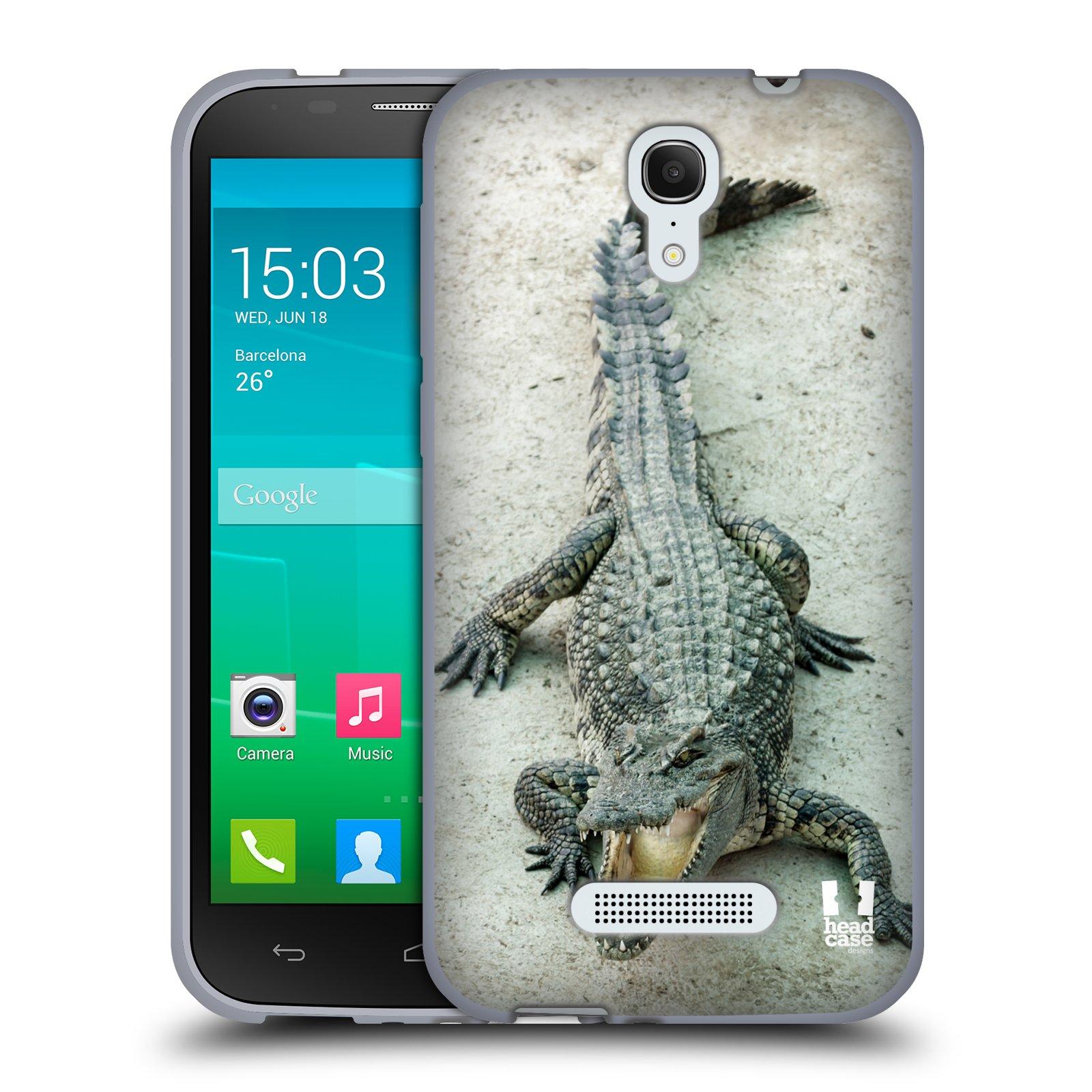 HEAD CASE silikonový obal na mobil Alcatel POP S7 vzor Divočina, Divoký život a zvířata foto KROKODÝL, KAJMAN