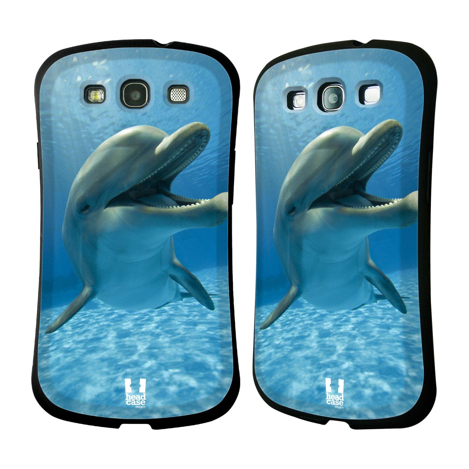 HEAD CASE silikon/plast odolný obal na mobil Samsung Galaxy S3 vzor Divočina, Divoký život a zvířata foto MODRÁ DELFÍN