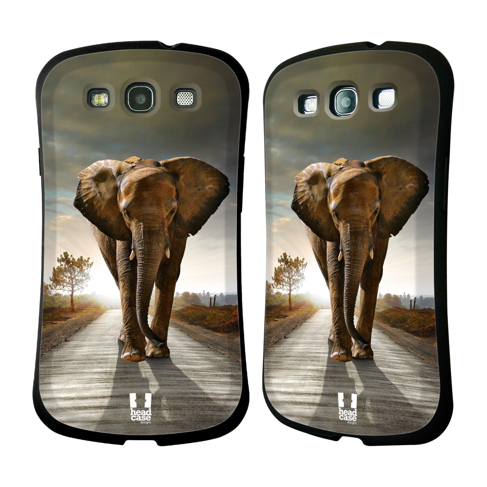 HEAD CASE silikon/plast odolný obal na mobil Samsung Galaxy S3 vzor Divočina, Divoký život a zvířata foto AFRIKA KRÁČEJÍCI SLON