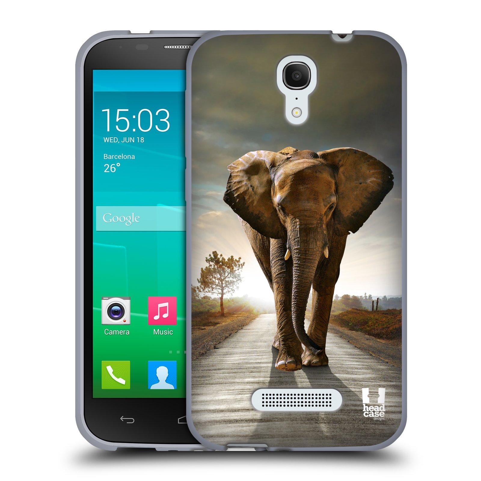 HEAD CASE silikonový obal na mobil Alcatel POP S7 vzor Divočina, Divoký život a zvířata foto AFRIKA KRÁČEJÍCI SLON