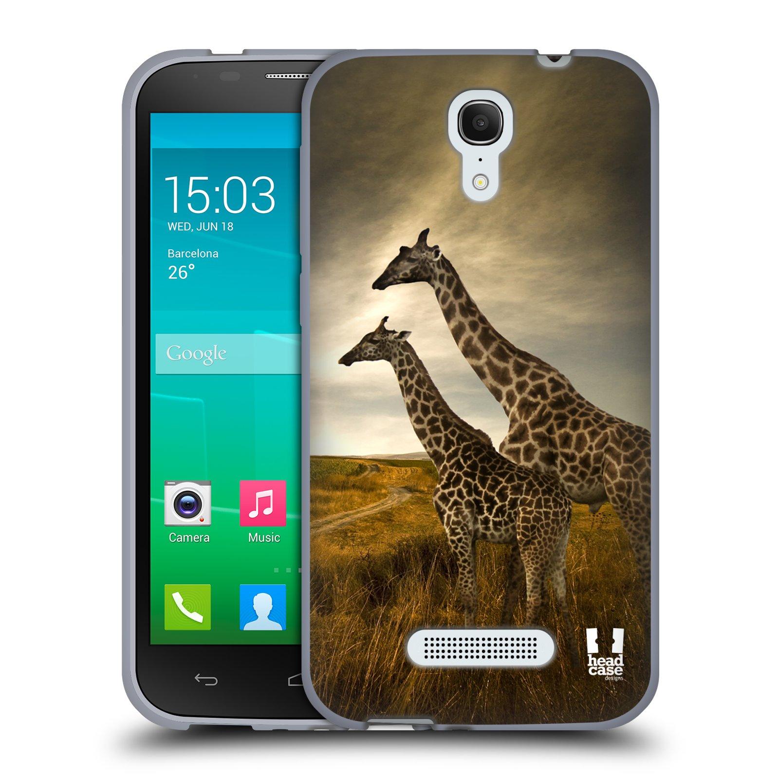 HEAD CASE silikonový obal na mobil Alcatel POP S7 vzor Divočina, Divoký život a zvířata foto AFRIKA ŽIRAFY VÝHLED