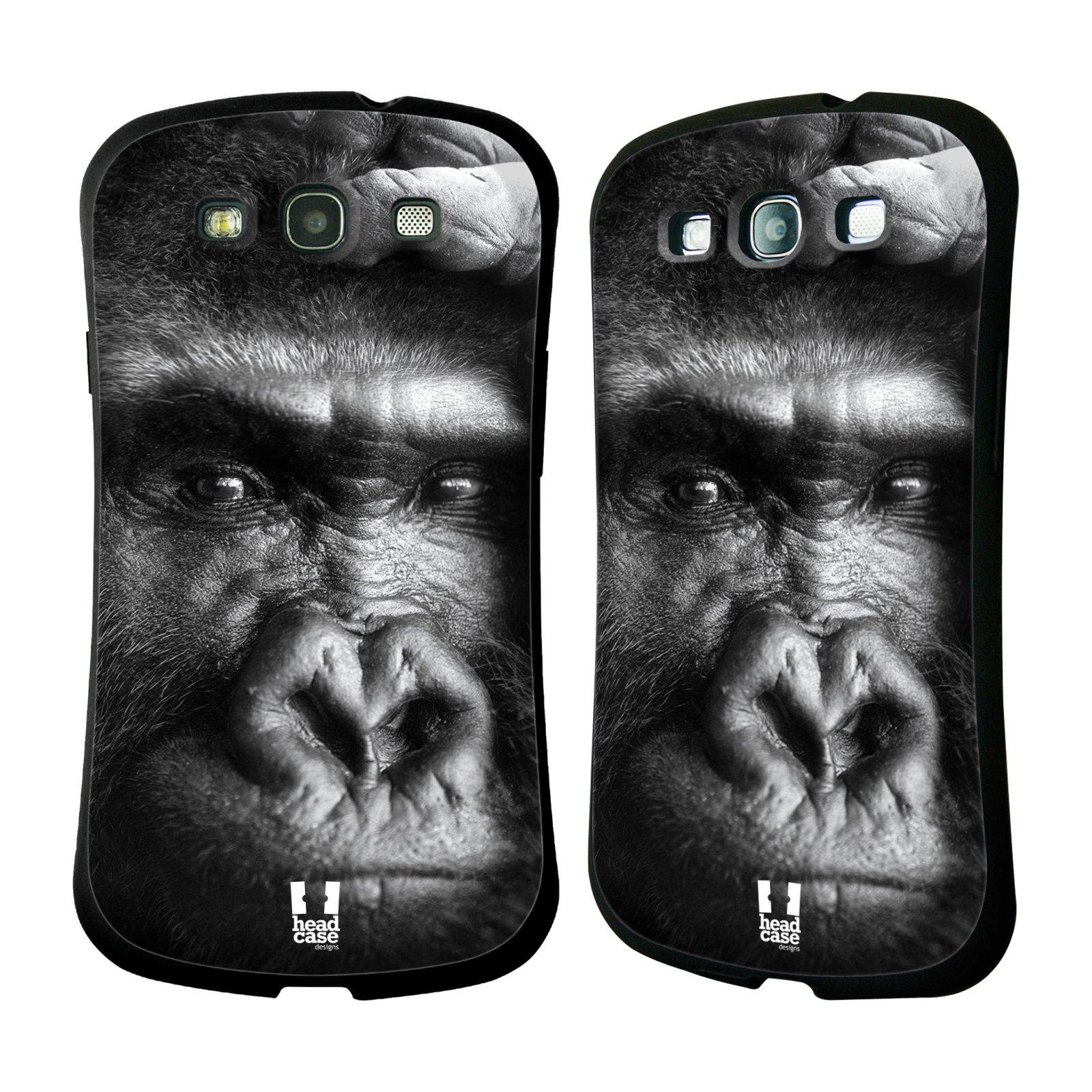 HEAD CASE silikon/plast odolný obal na mobil Samsung Galaxy S3 vzor Divočina, Divoký život a zvířata foto GORILA TVÁŘ