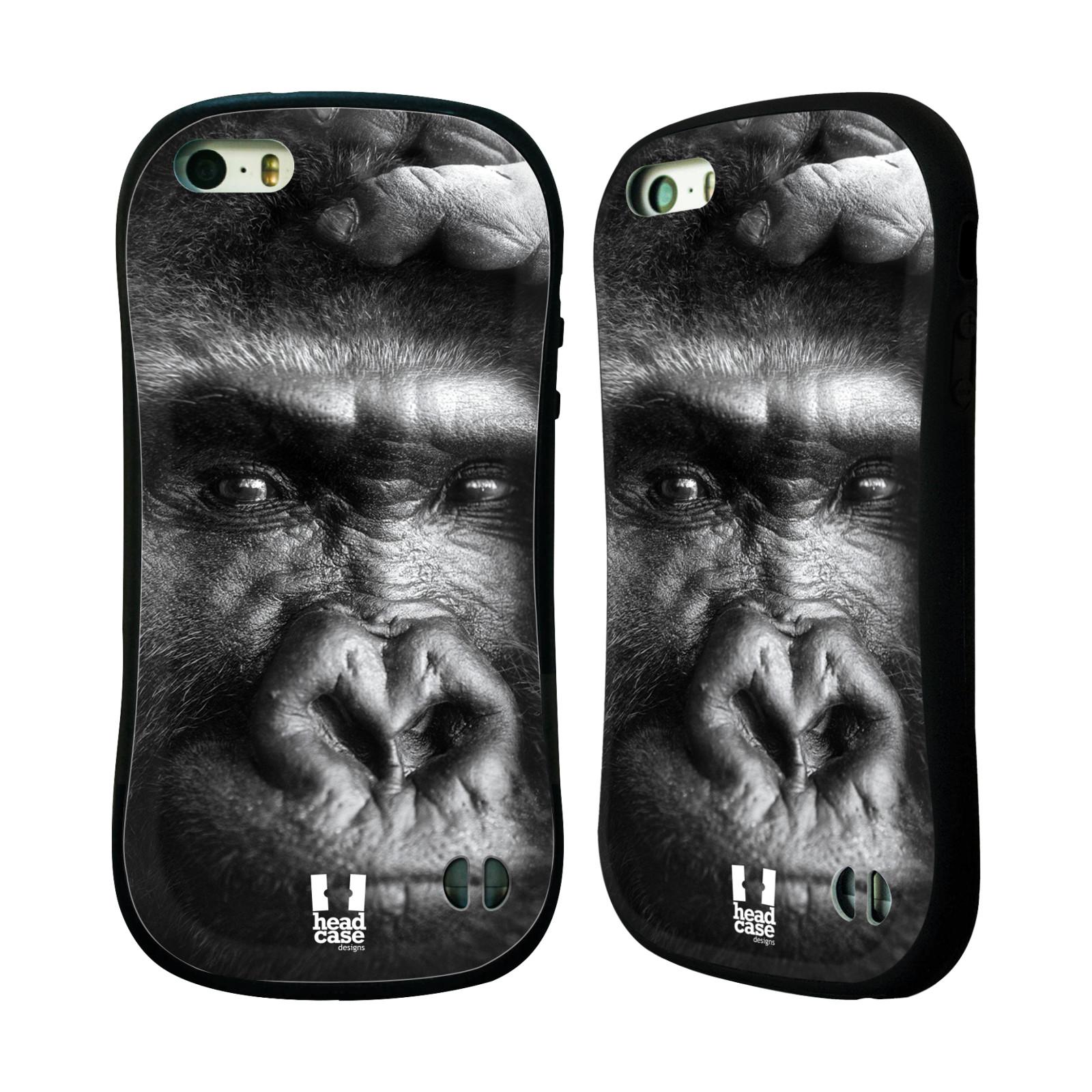 HEAD CASE silikon/plast odolný obal na mobil Apple Iphone 5/5S vzor Divočina, Divoký život a zvířata foto GORILA TVÁŘ