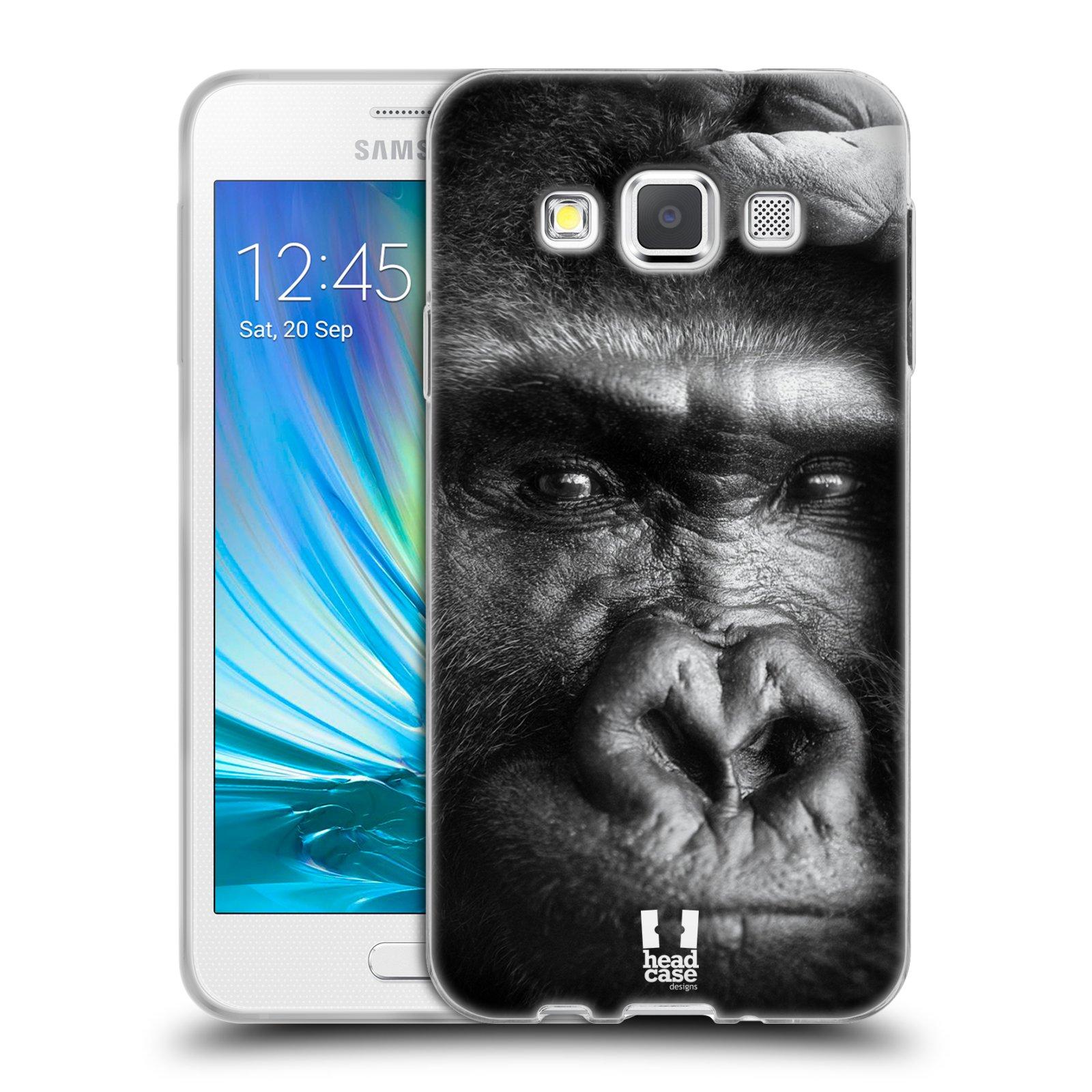 HEAD CASE silikonový obal na mobil Samsung Galaxy A3 vzor Divočina, Divoký život a zvířata foto GORILA TVÁŘ