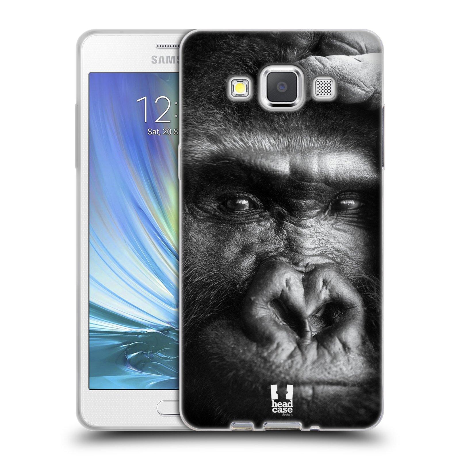 HEAD CASE silikonový obal na mobil Samsung Galaxy A5 vzor Divočina, Divoký život a zvířata foto GORILA TVÁŘ