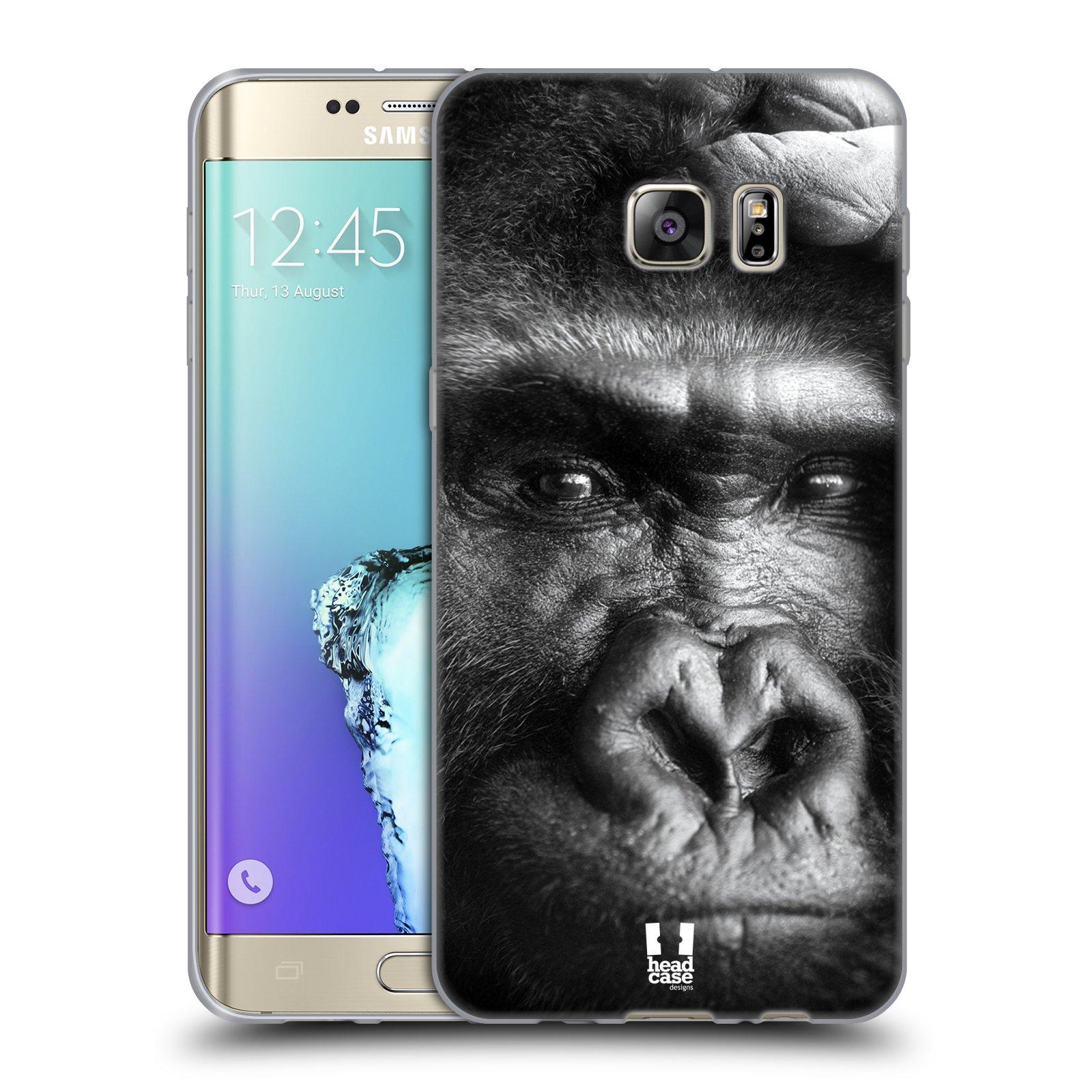 HEAD CASE silikonový obal na mobil Samsung Galaxy S6 EDGE PLUS vzor Divočina, Divoký život a zvířata foto GORILA TVÁŘ