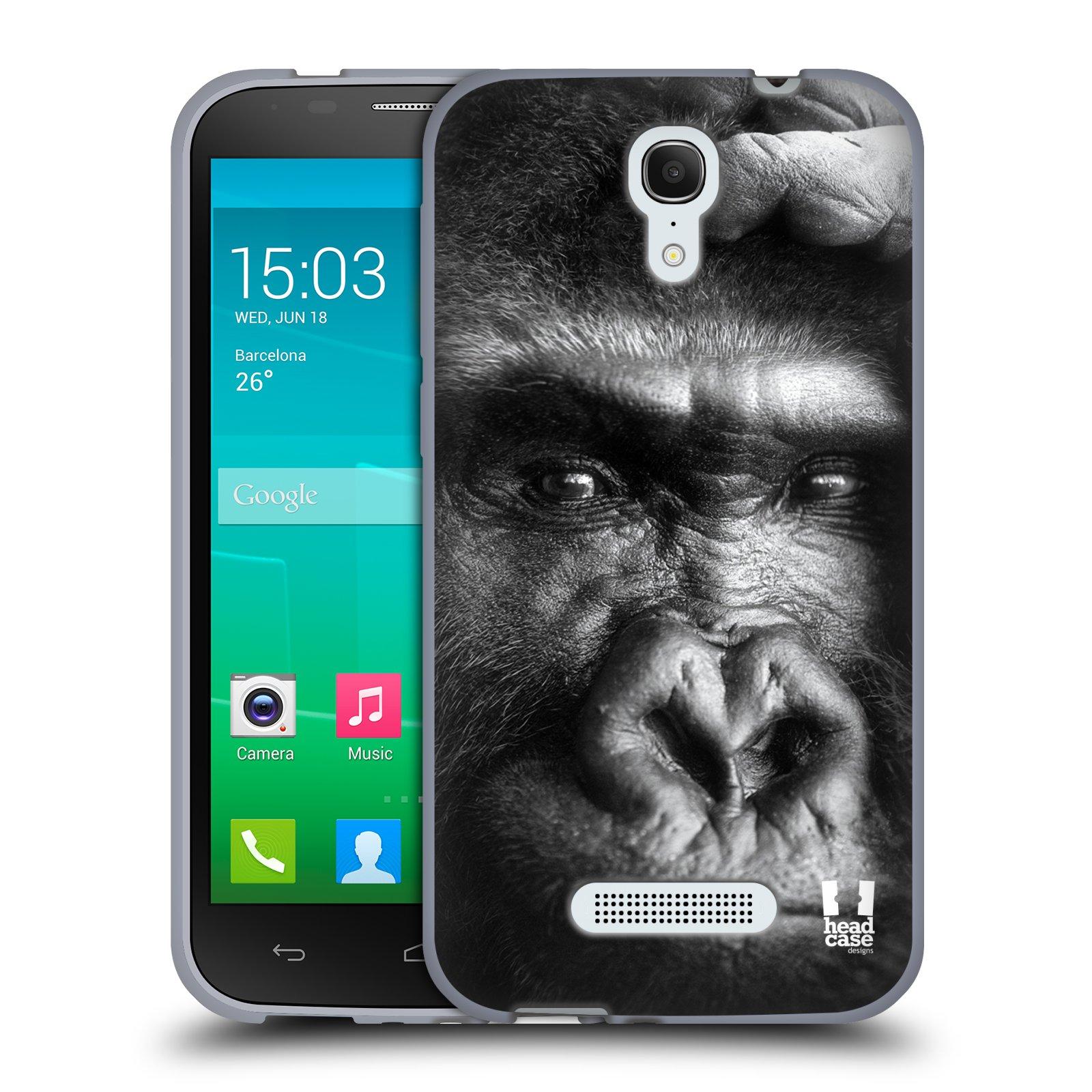 HEAD CASE silikonový obal na mobil Alcatel POP S7 vzor Divočina, Divoký život a zvířata foto GORILA TVÁŘ