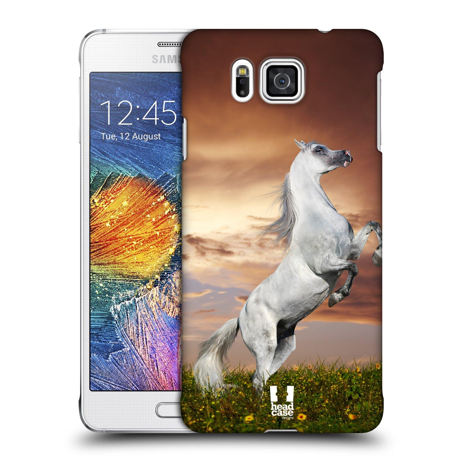 HEAD CASE plastový obal na mobil SAMSUNG Galaxy Alpha (G850) vzor Divočina, Divoký život a zvířata foto DIVOKÝ KŮŇ MUSTANG BÍLÁ