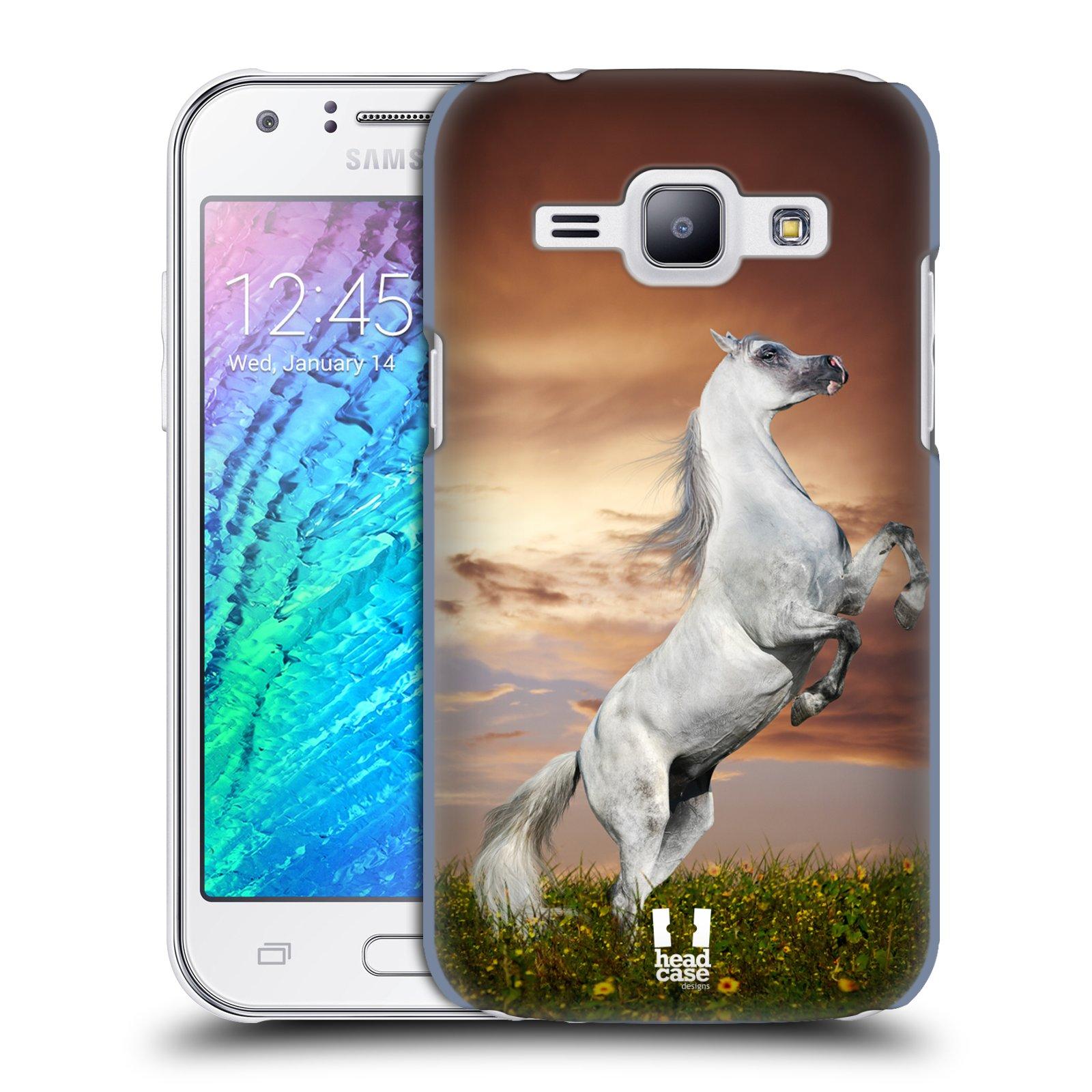 HEAD CASE plastový obal na mobil SAMSUNG Galaxy J1, J100 vzor Divočina, Divoký život a zvířata foto DIVOKÝ KŮŇ MUSTANG BÍLÁ