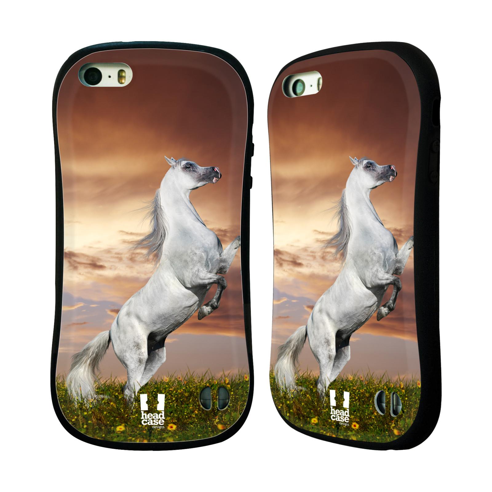 HEAD CASE silikon/plast odolný obal na mobil Apple Iphone 5/5S vzor Divočina, Divoký život a zvířata foto DIVOKÝ KŮŇ MUSTANG BÍLÁ