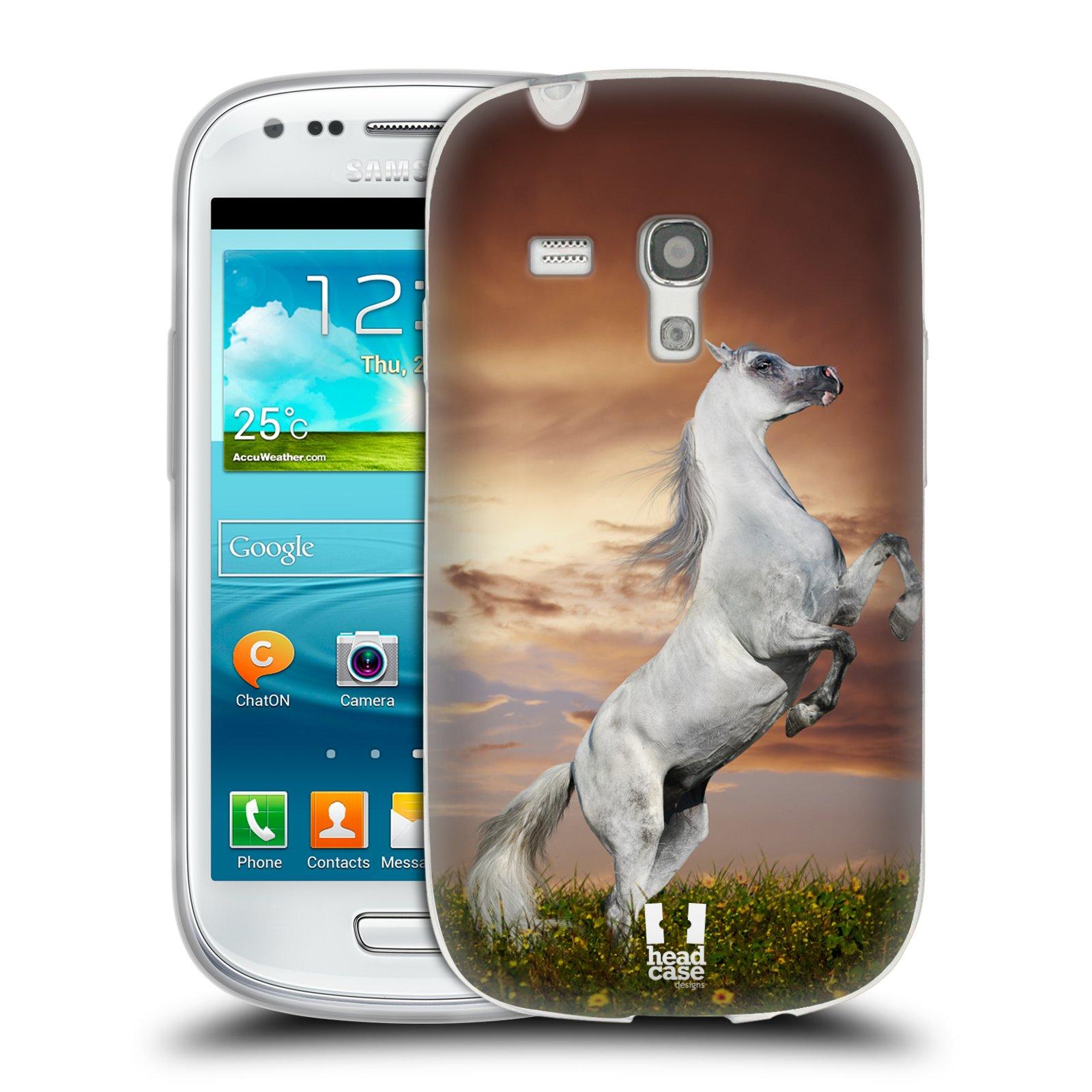HEAD CASE silikonový obal na mobil Samsung Galaxy S3 MINI i8190 vzor Divočina, Divoký život a zvířata foto DIVOKÝ KŮŇ MUSTANG BÍLÁ