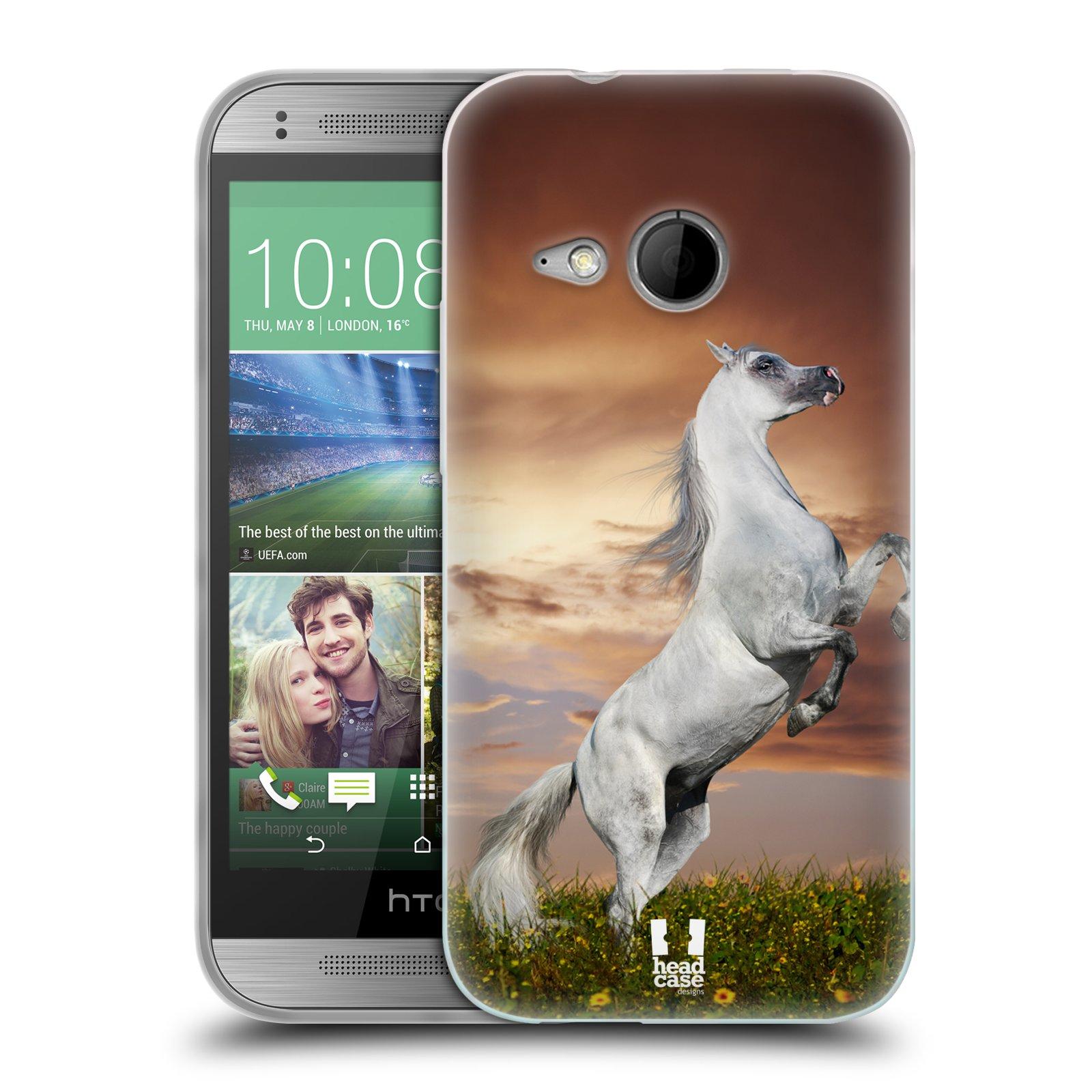 HEAD CASE silikonový obal na mobil HTC ONE MINI 2 vzor Divočina, Divoký život a zvířata foto DIVOKÝ KŮŇ MUSTANG BÍLÁ