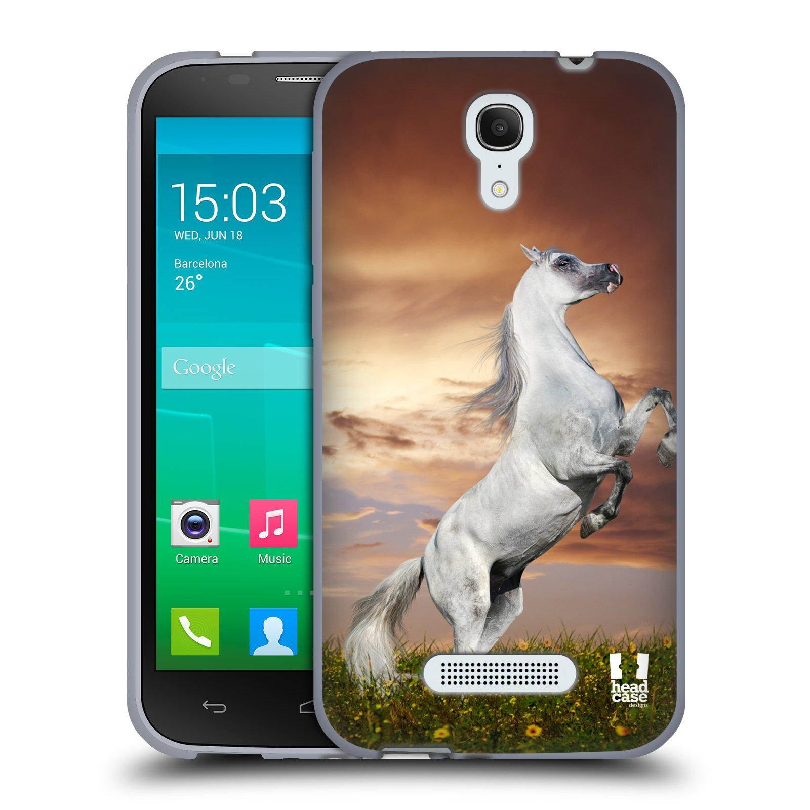 HEAD CASE silikonový obal na mobil Alcatel POP S7 vzor Divočina, Divoký život a zvířata foto DIVOKÝ KŮŇ MUSTANG BÍLÁ