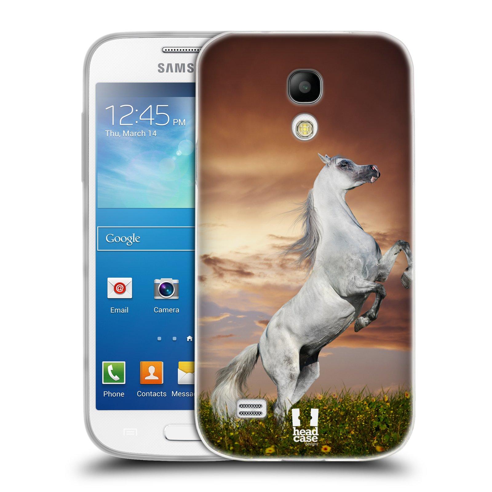 HEAD CASE silikonový obal na mobil Samsung Galaxy S4 MINI vzor Divočina, Divoký život a zvířata foto DIVOKÝ KŮŇ MUSTANG BÍLÁ