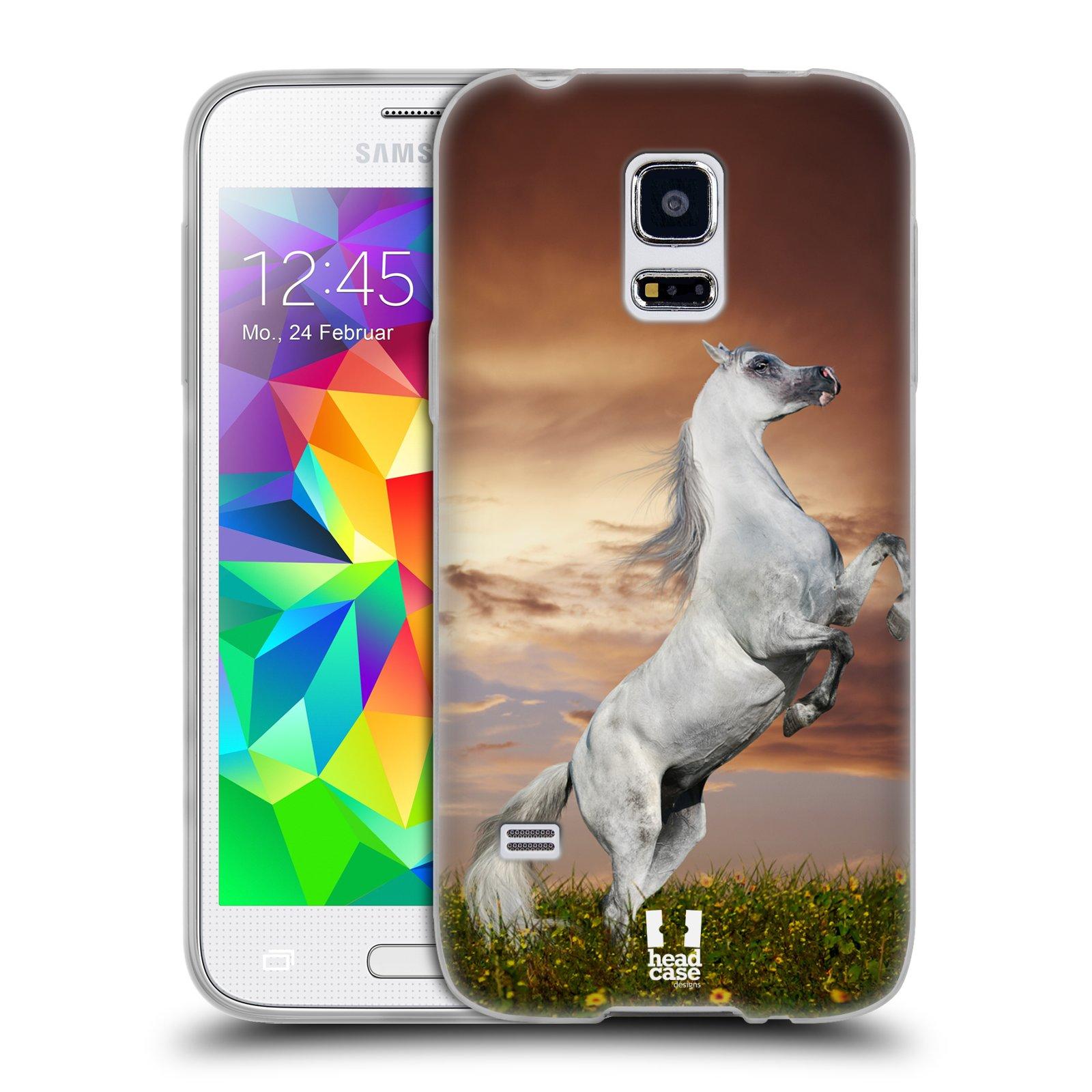 HEAD CASE silikonový obal na mobil Samsung Galaxy S5 MINI vzor Divočina, Divoký život a zvířata foto DIVOKÝ KŮŇ MUSTANG BÍLÁ
