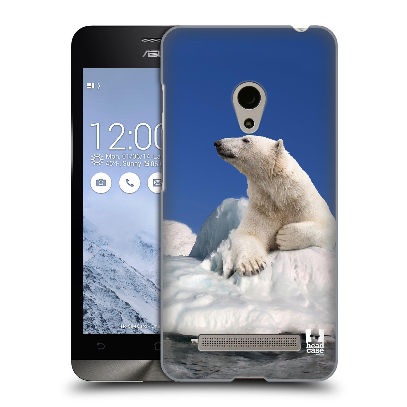 HEAD CASE plastový obal na mobil Asus Zenfone 5 vzor Divočina, Divoký život a zvířata foto LEDNÍ MEDVĚD NA LEDOVCI A NEBE MODRÁ