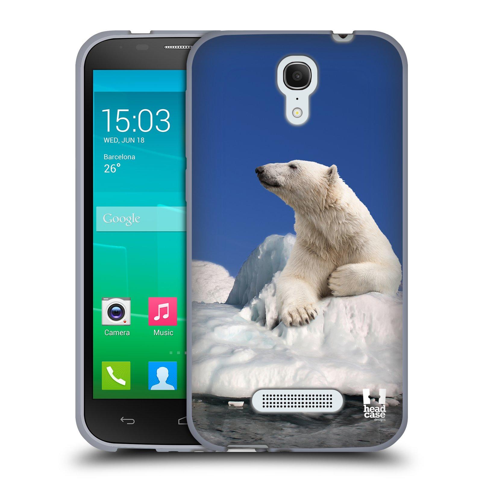 HEAD CASE silikonový obal na mobil Alcatel POP S7 vzor Divočina, Divoký život a zvířata foto LEDNÍ MEDVĚD NA LEDOVCI A NEBE MODRÁ