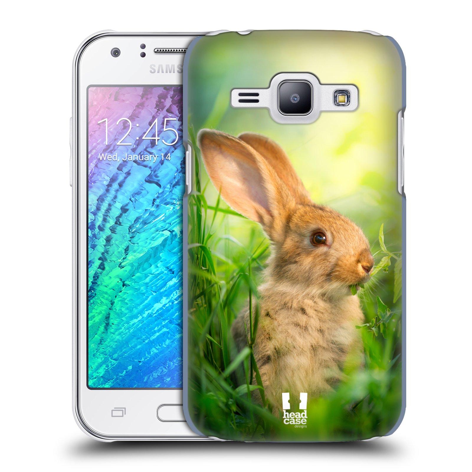 HEAD CASE plastový obal na mobil SAMSUNG Galaxy J1, J100 vzor Divočina, Divoký život a zvířata foto ZAJÍČEK V TRÁVĚ ZELENÁ