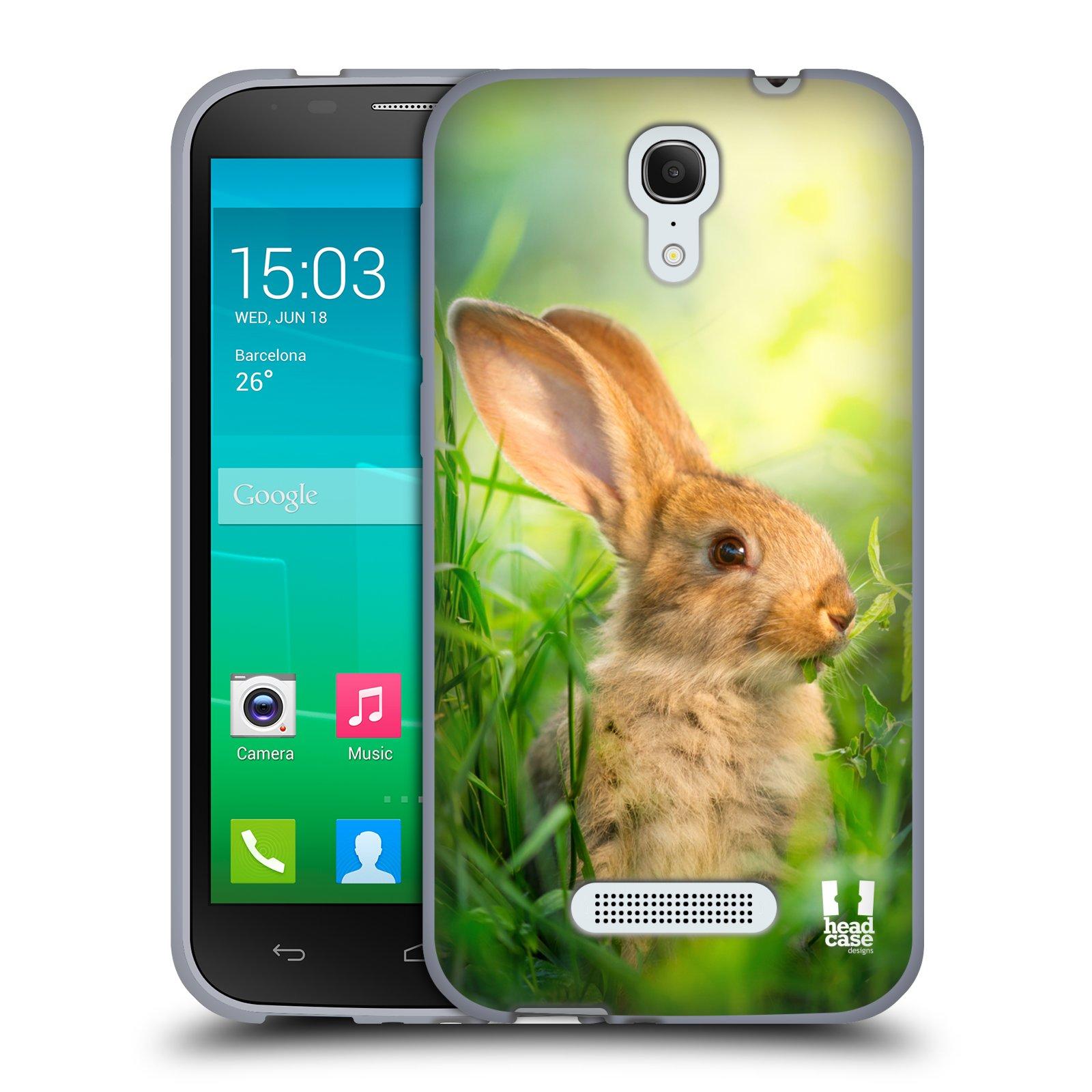 HEAD CASE silikonový obal na mobil Alcatel POP S7 vzor Divočina, Divoký život a zvířata foto ZAJÍČEK V TRÁVĚ ZELENÁ