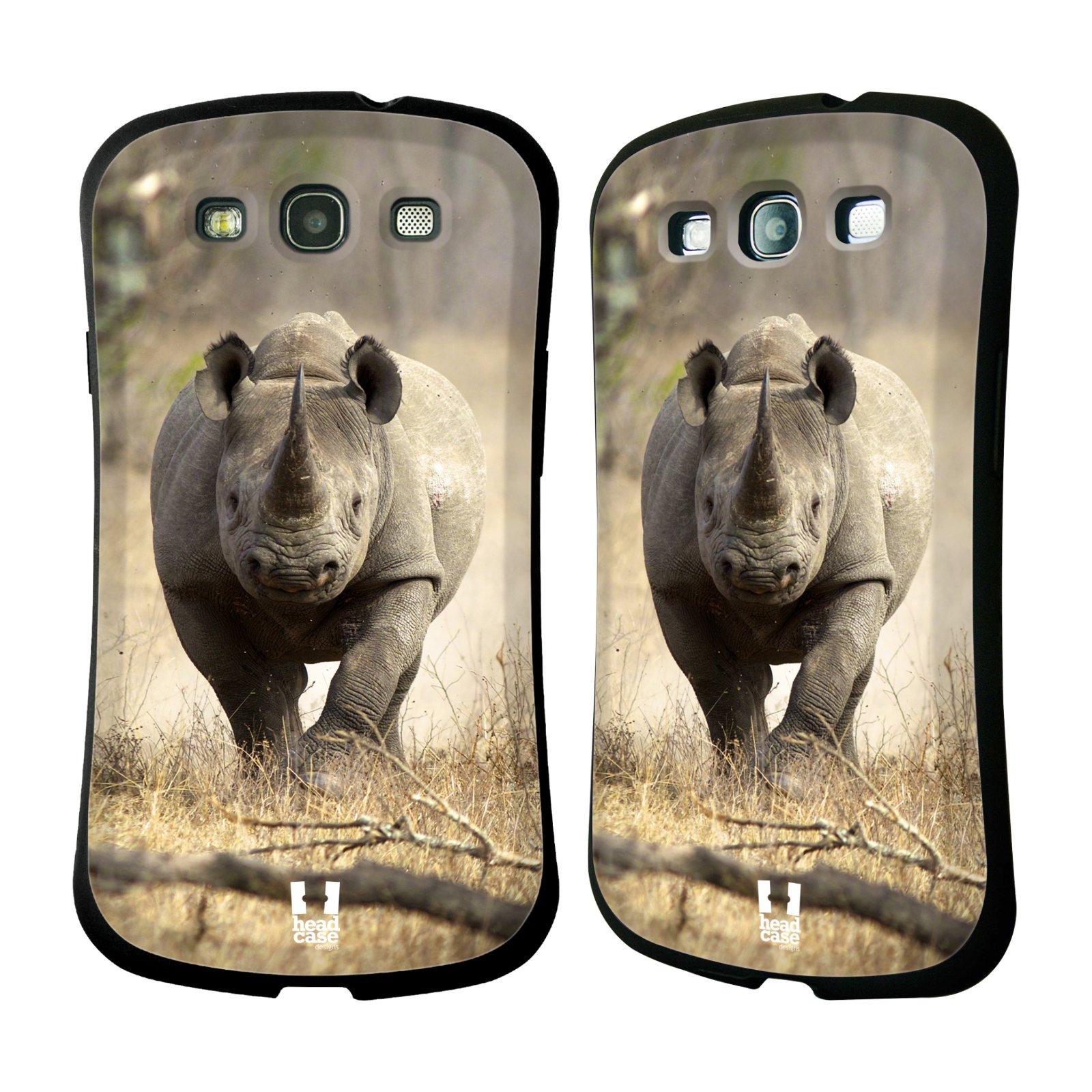 HEAD CASE silikon/plast odolný obal na mobil Samsung Galaxy S3 vzor Divočina, Divoký život a zvířata foto AFRIKA BĚŽÍCÍ NOSOROŽEC