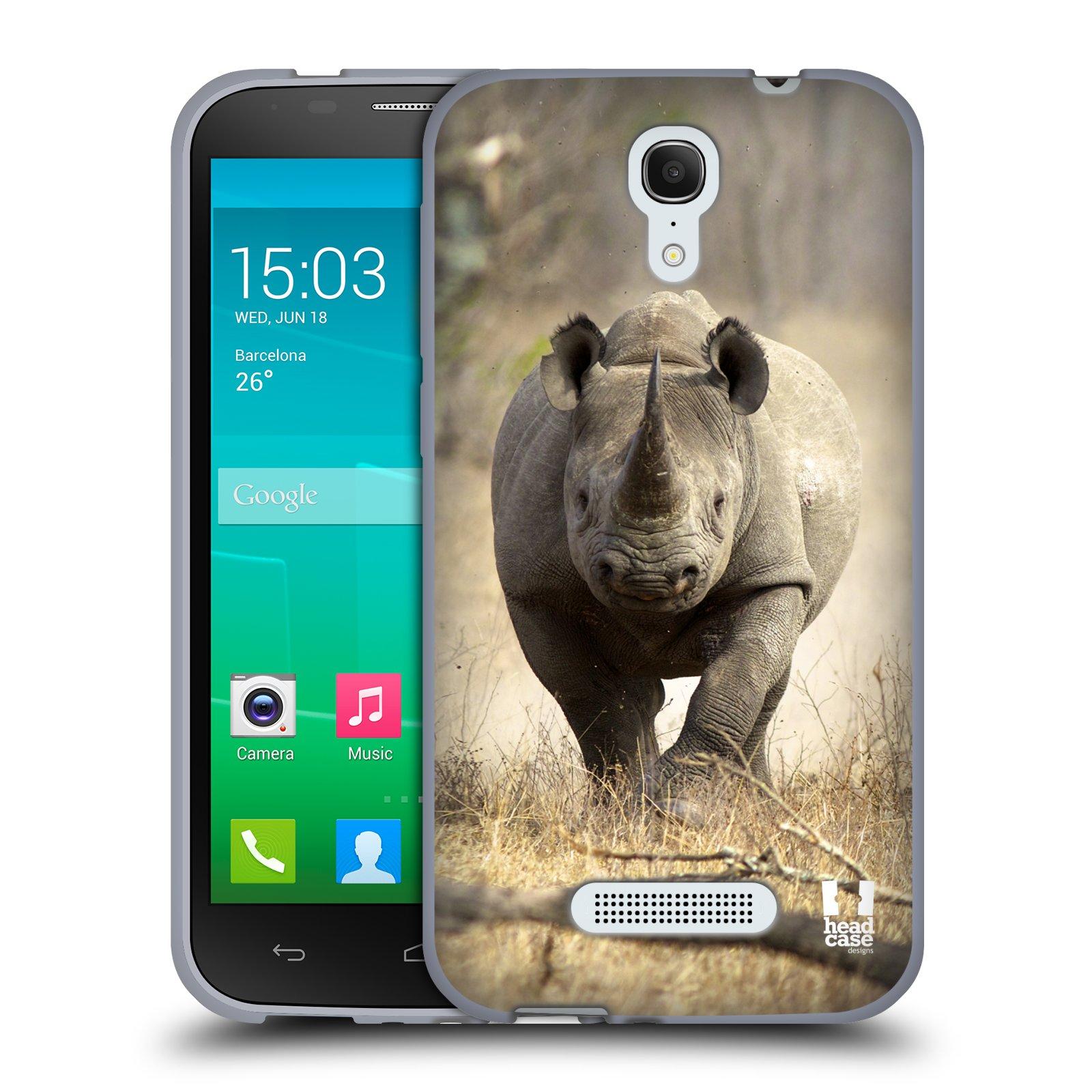 HEAD CASE silikonový obal na mobil Alcatel POP S7 vzor Divočina, Divoký život a zvířata foto AFRIKA BĚŽÍCÍ NOSOROŽEC