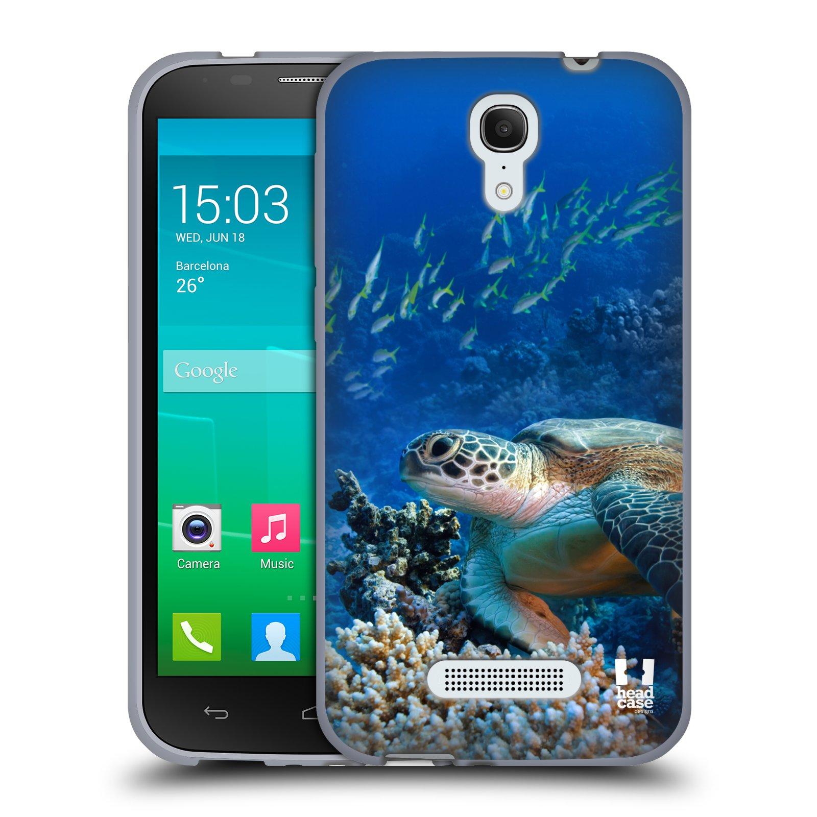 HEAD CASE silikonový obal na mobil Alcatel POP S7 vzor Divočina, Divoký život a zvířata foto MOŘSKÁ ŽELVA MODRÁ PODMOŘSKÁ HLADINA