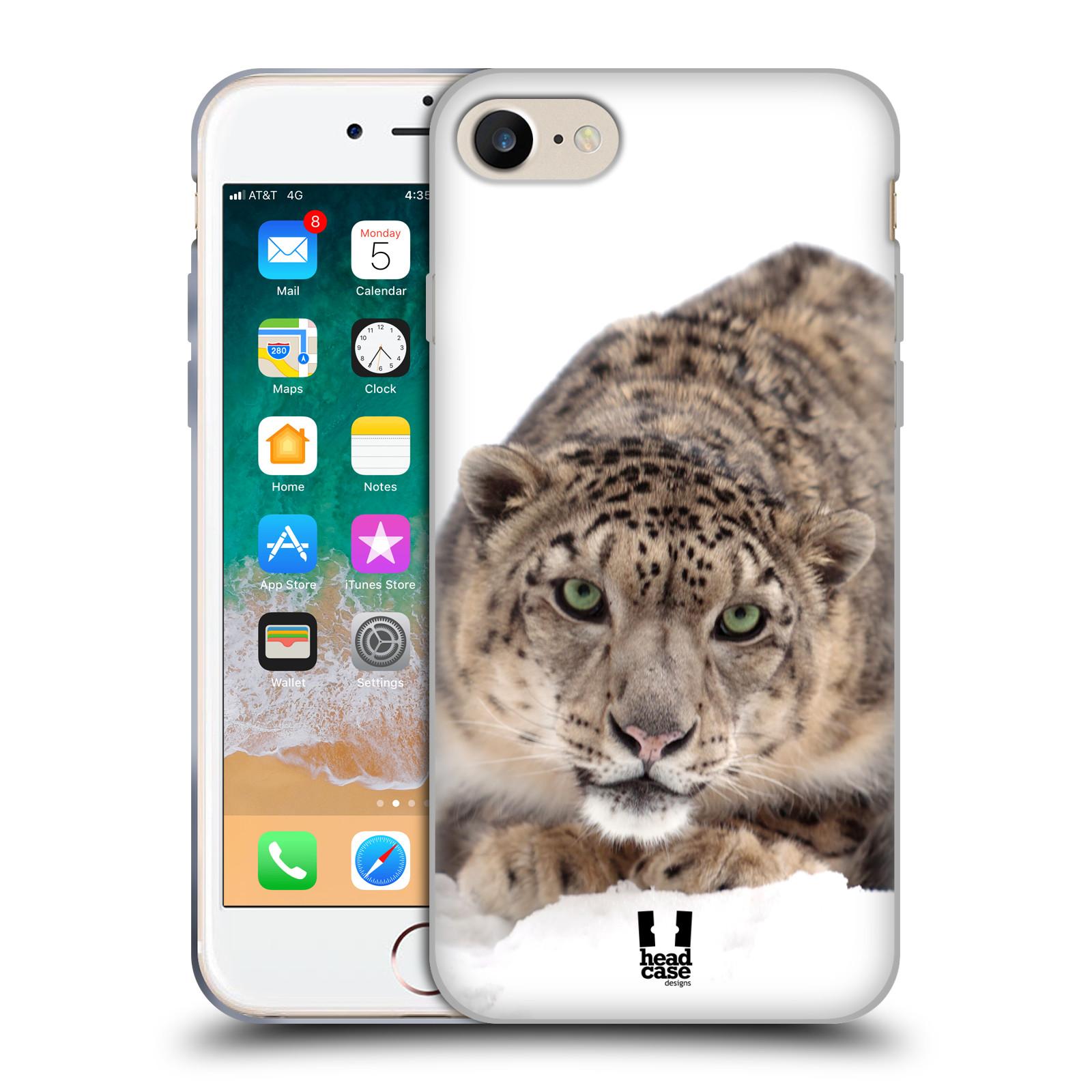 HEAD CASE silikonový obal na mobil Apple Iphone 7 vzor Divočina, Divoký život a zvířata foto SNĚŽNÝ LEOPARD