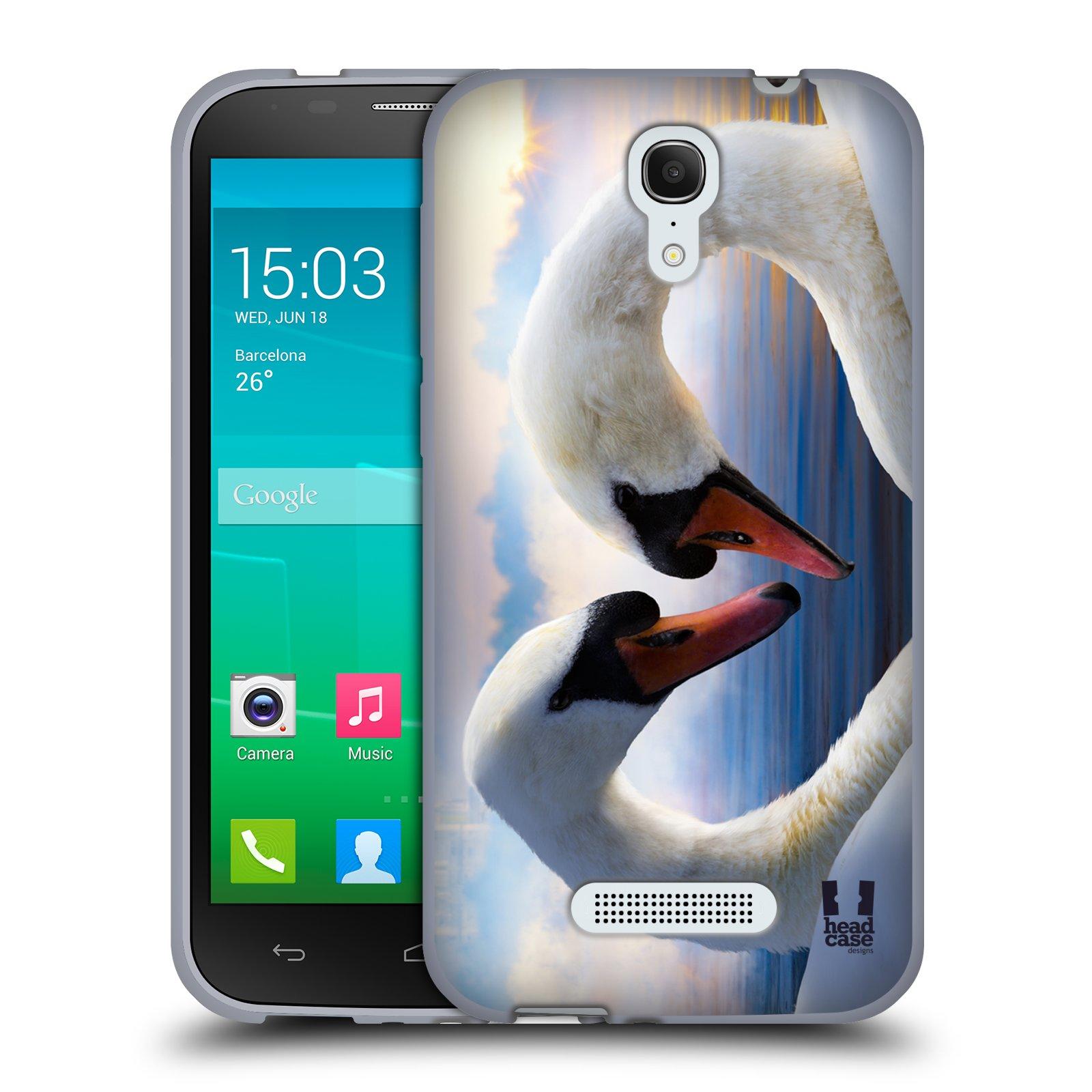 HEAD CASE silikonový obal na mobil Alcatel POP S7 vzor Divočina, Divoký život a zvířata foto ZAMILOVANÉ LABUTĚ, LÁSKA