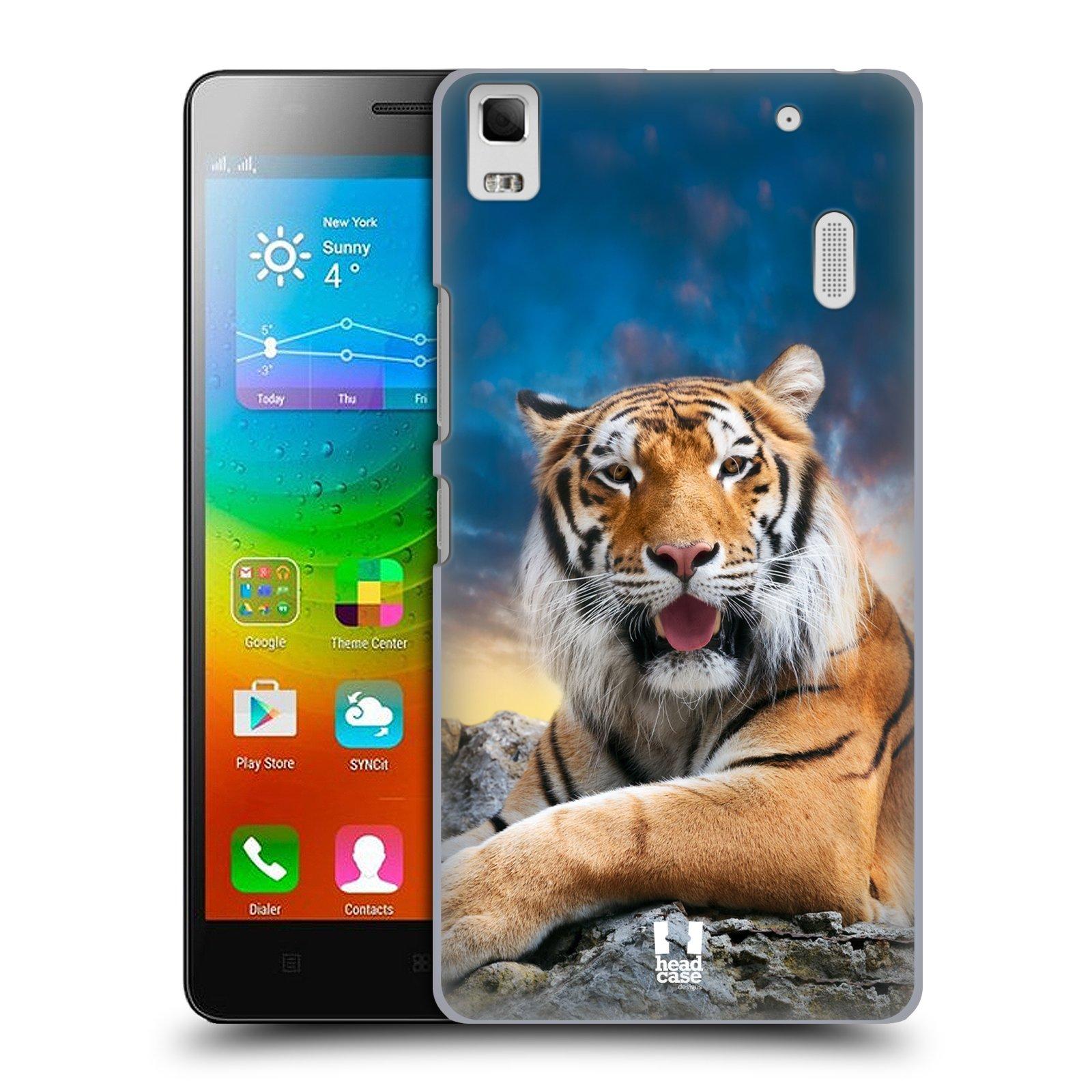 HEAD CASE pevný plastový obal na mobil LENOVO A7000 / A7000 DUAL / K3 NOTE vzor Divočina, Divoký život a zvířata foto TYGR A NEBE