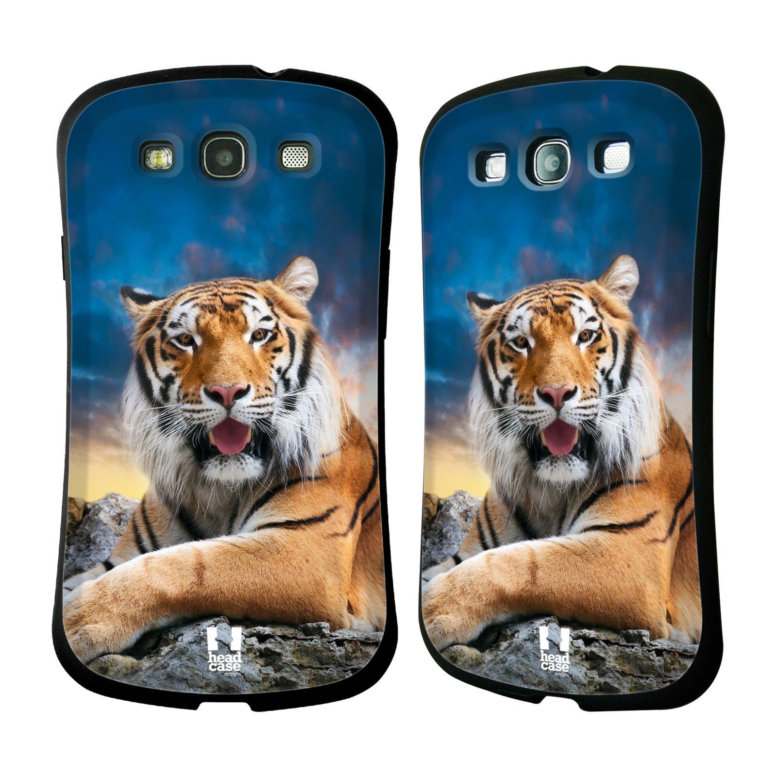 HEAD CASE silikon/plast odolný obal na mobil Samsung Galaxy S3 vzor Divočina, Divoký život a zvířata foto TYGR A NEBE