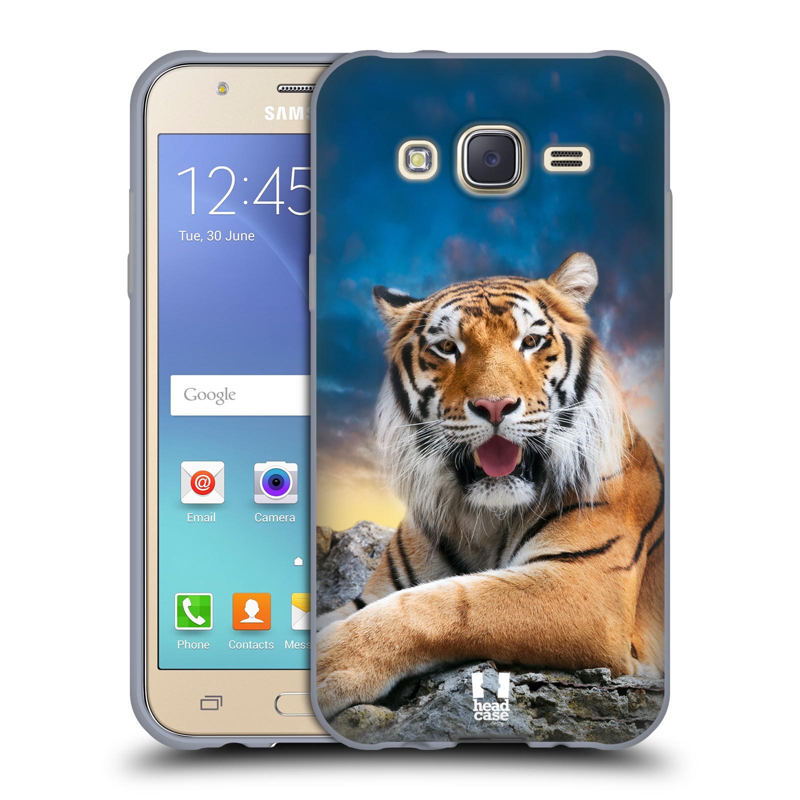 HEAD CASE silikonový obal na mobil Samsung Galaxy J5, J500, (J5 DUOS) vzor Divočina, Divoký život a zvířata foto TYGR A NEBE