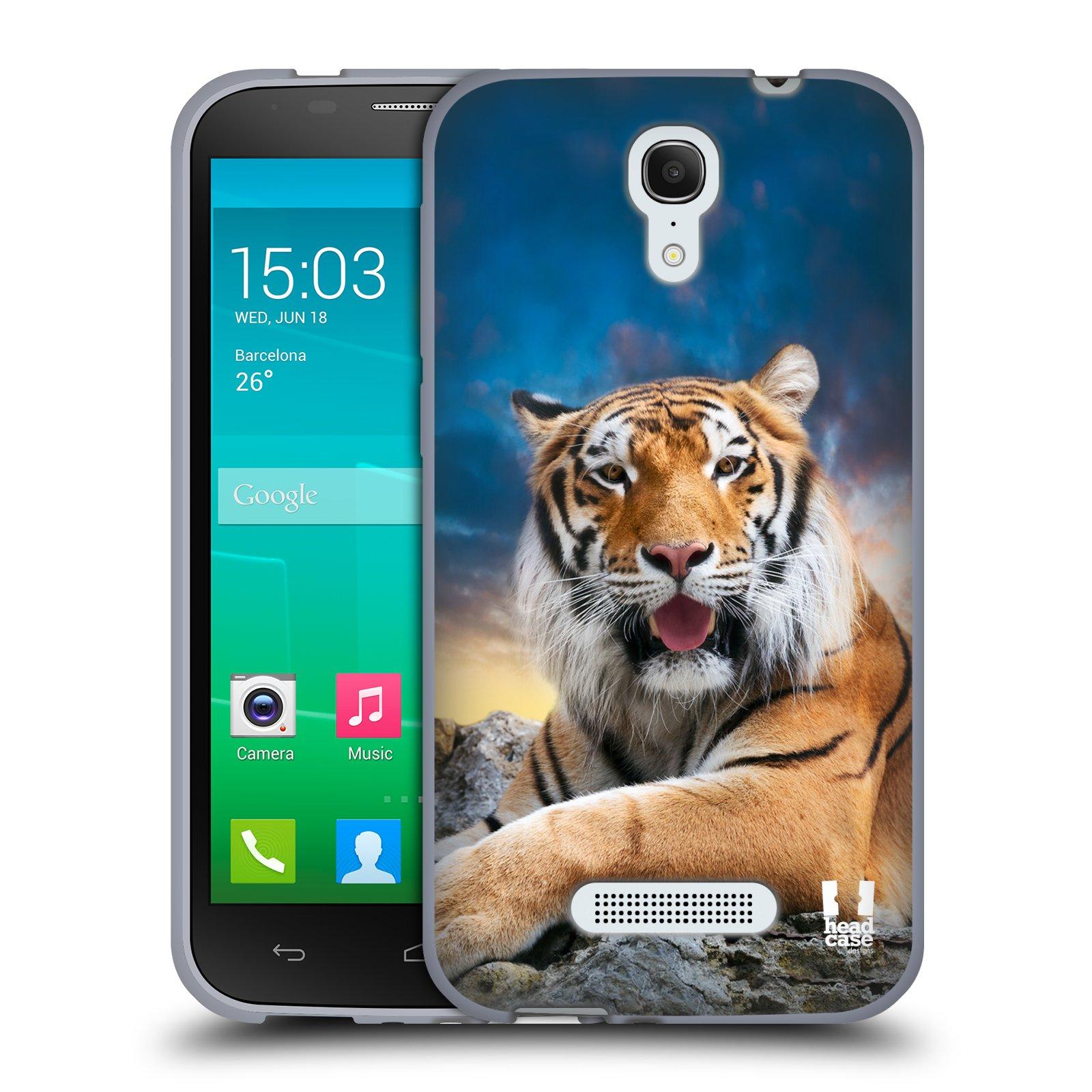 HEAD CASE silikonový obal na mobil Alcatel POP S7 vzor Divočina, Divoký život a zvířata foto TYGR A NEBE