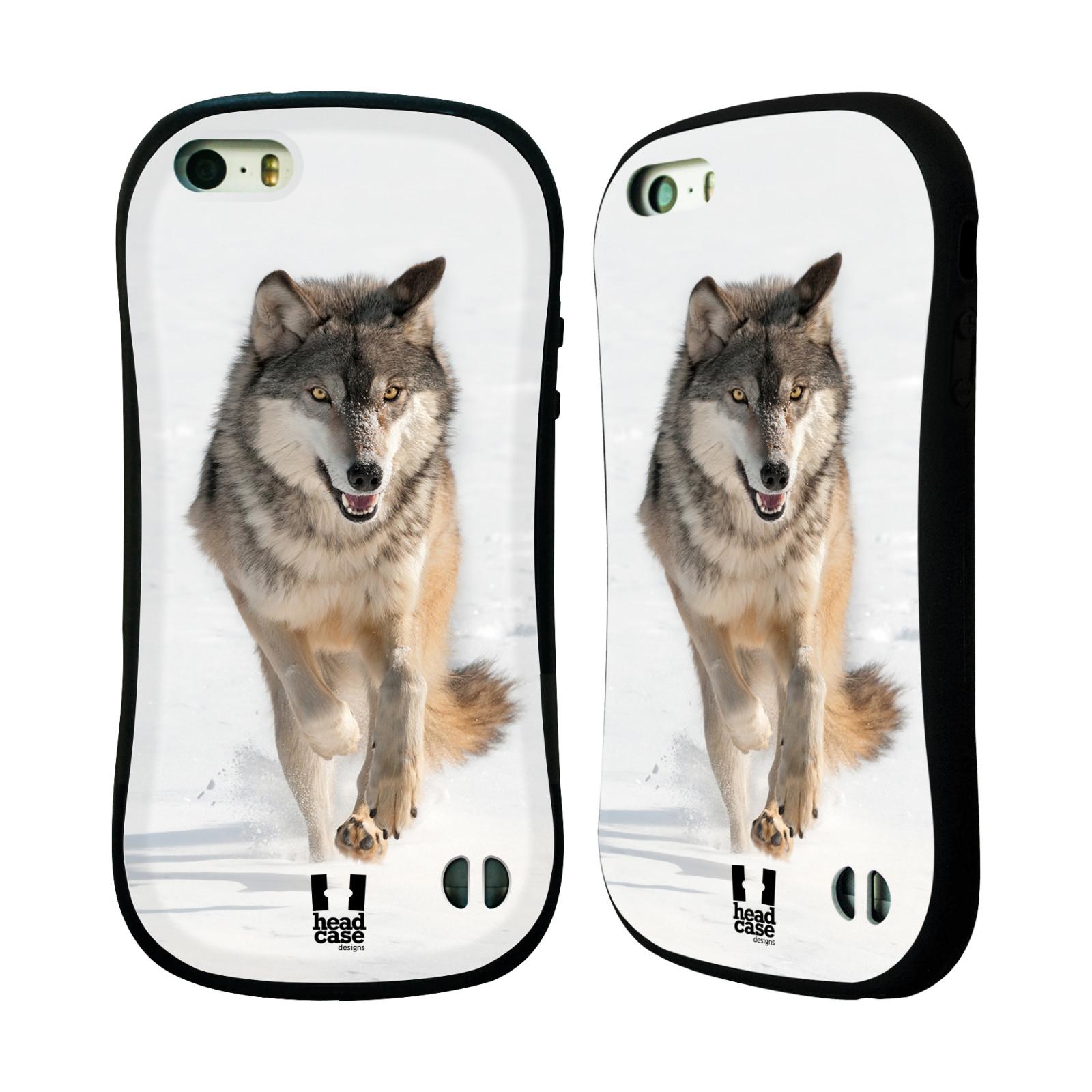 HEAD CASE silikon/plast odolný obal na mobil Apple Iphone 5/5S vzor Divočina, Divoký život a zvířata foto BĚŽÍCÍ VLK