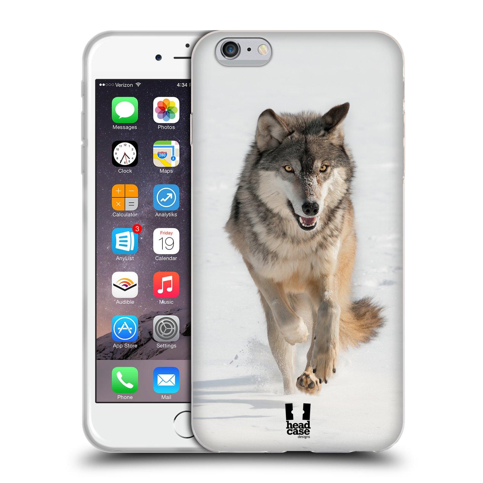 HEAD CASE silikonový obal na mobil Apple Iphone 6 PLUS/ 6S PLUS vzor Divočina, Divoký život a zvířata foto BĚŽÍCÍ VLK