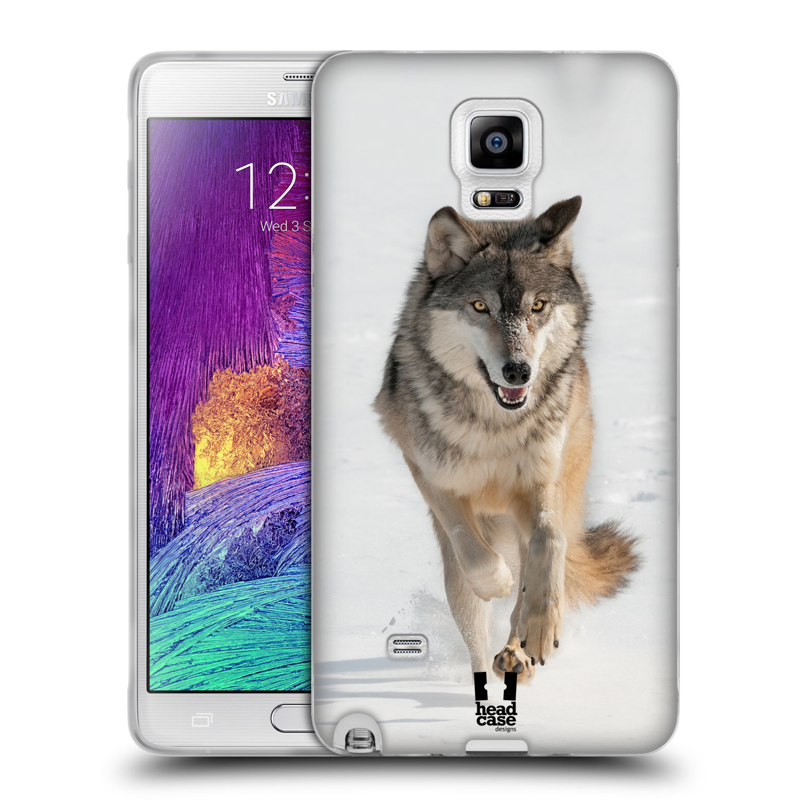 HEAD CASE silikonový obal na mobil Samsung Galaxy Note 4 (N910) vzor Divočina, Divoký život a zvířata foto BĚŽÍCÍ VLK