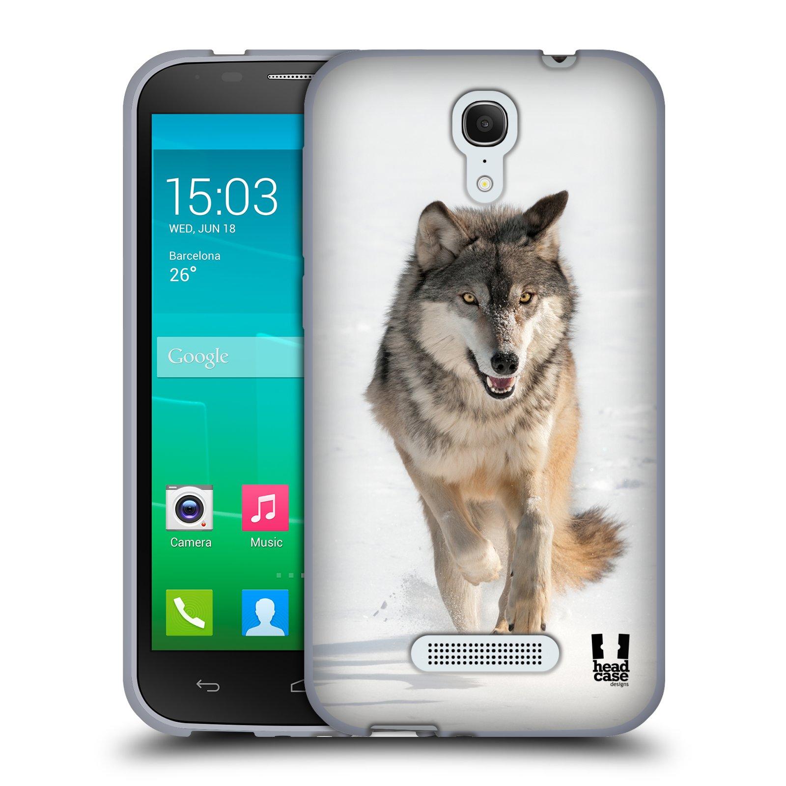 HEAD CASE silikonový obal na mobil Alcatel POP S7 vzor Divočina, Divoký život a zvířata foto BĚŽÍCÍ VLK