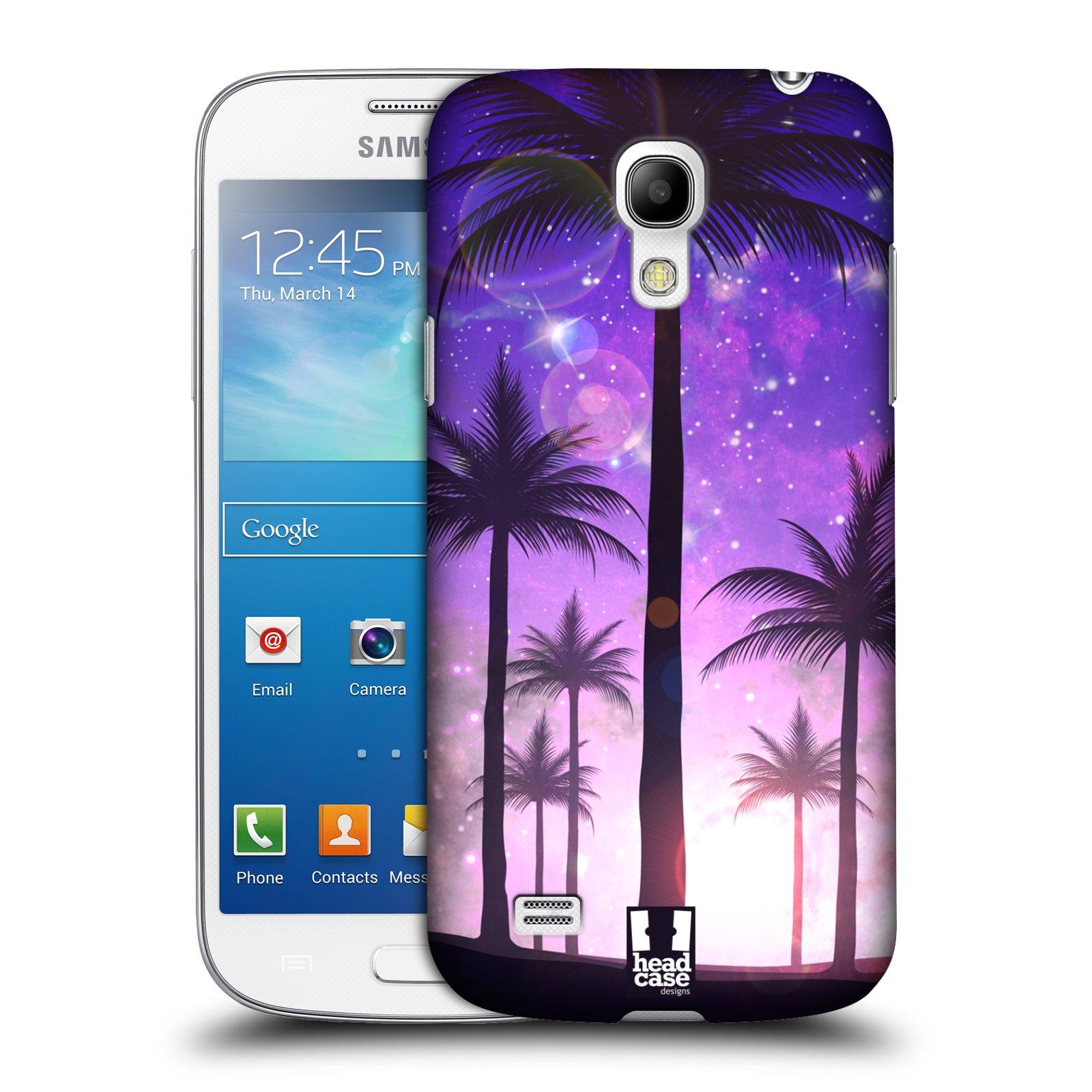 HEAD CASE plastový obal na mobil SAMSUNG Galaxy S4 MINI / S4 MINI VE (i9190, i9195i, i9195) vzor Kreslený motiv silueta moře a palmy FIALOVÁ
