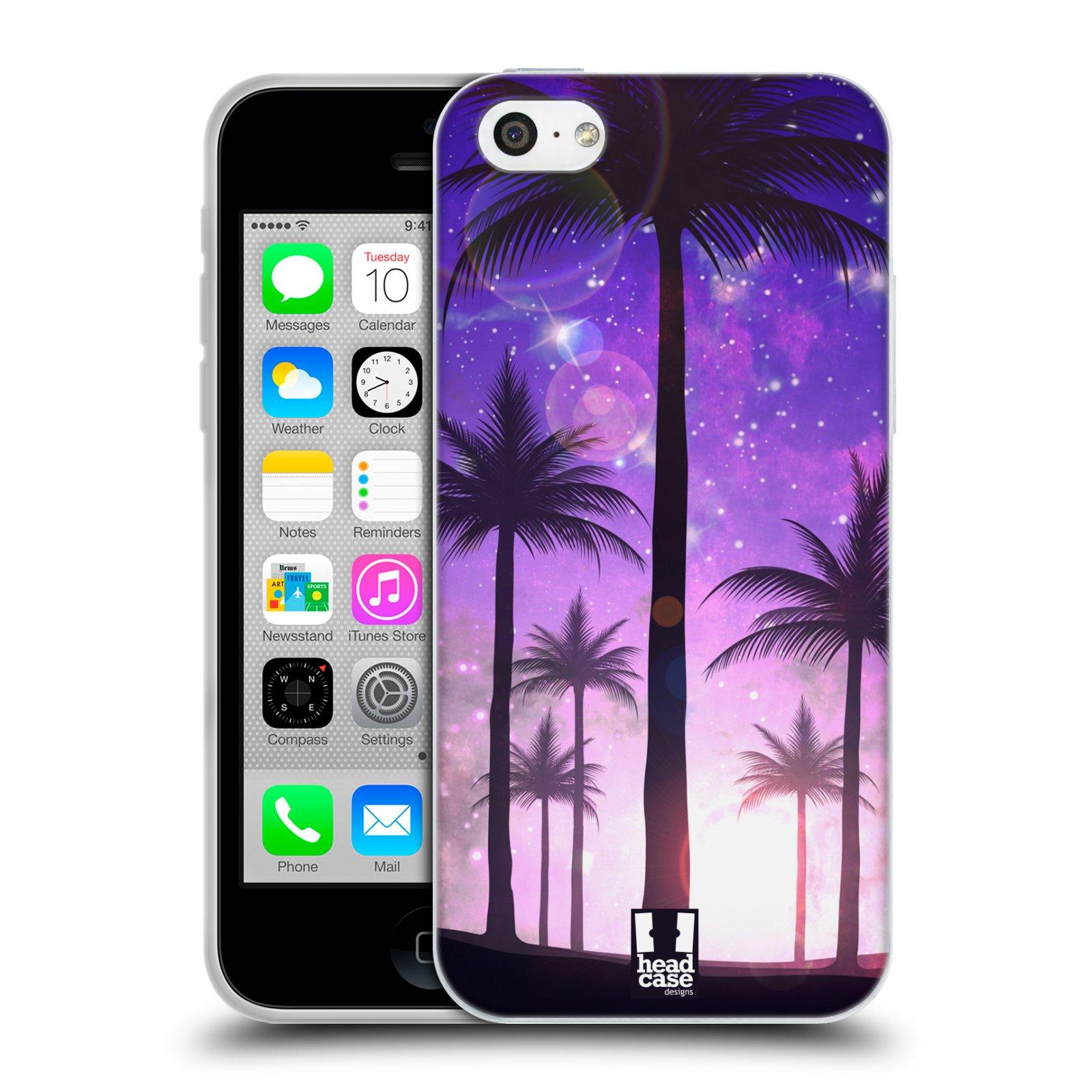HEAD CASE silikonový obal na mobil Apple Iphone 5C vzor Kreslený motiv silueta moře a palmy FIALOVÁ