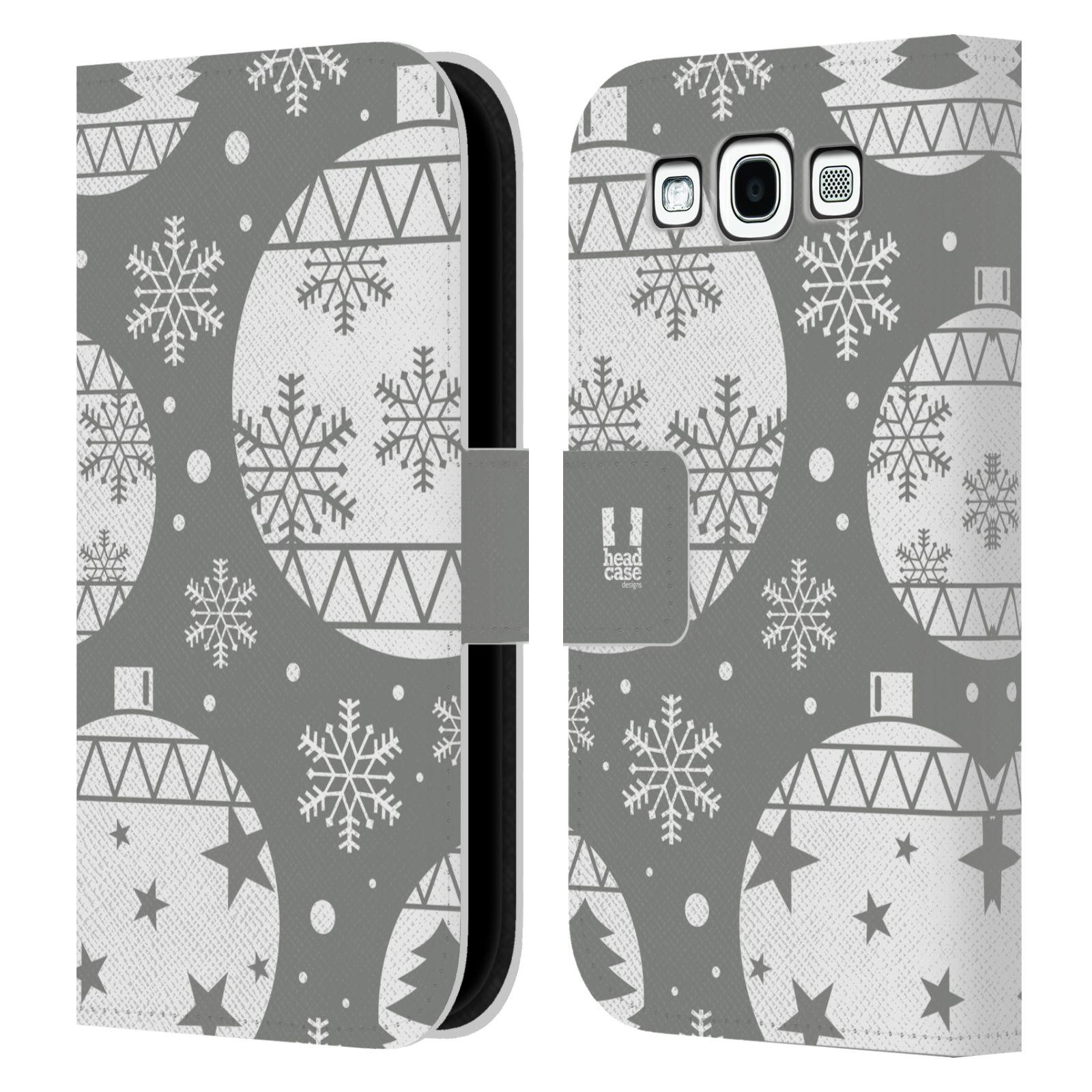 HEAD CASE Flipové pouzdro pro mobil Samsung Galaxy S3 stříbrné vzory vánoční ozdoby
