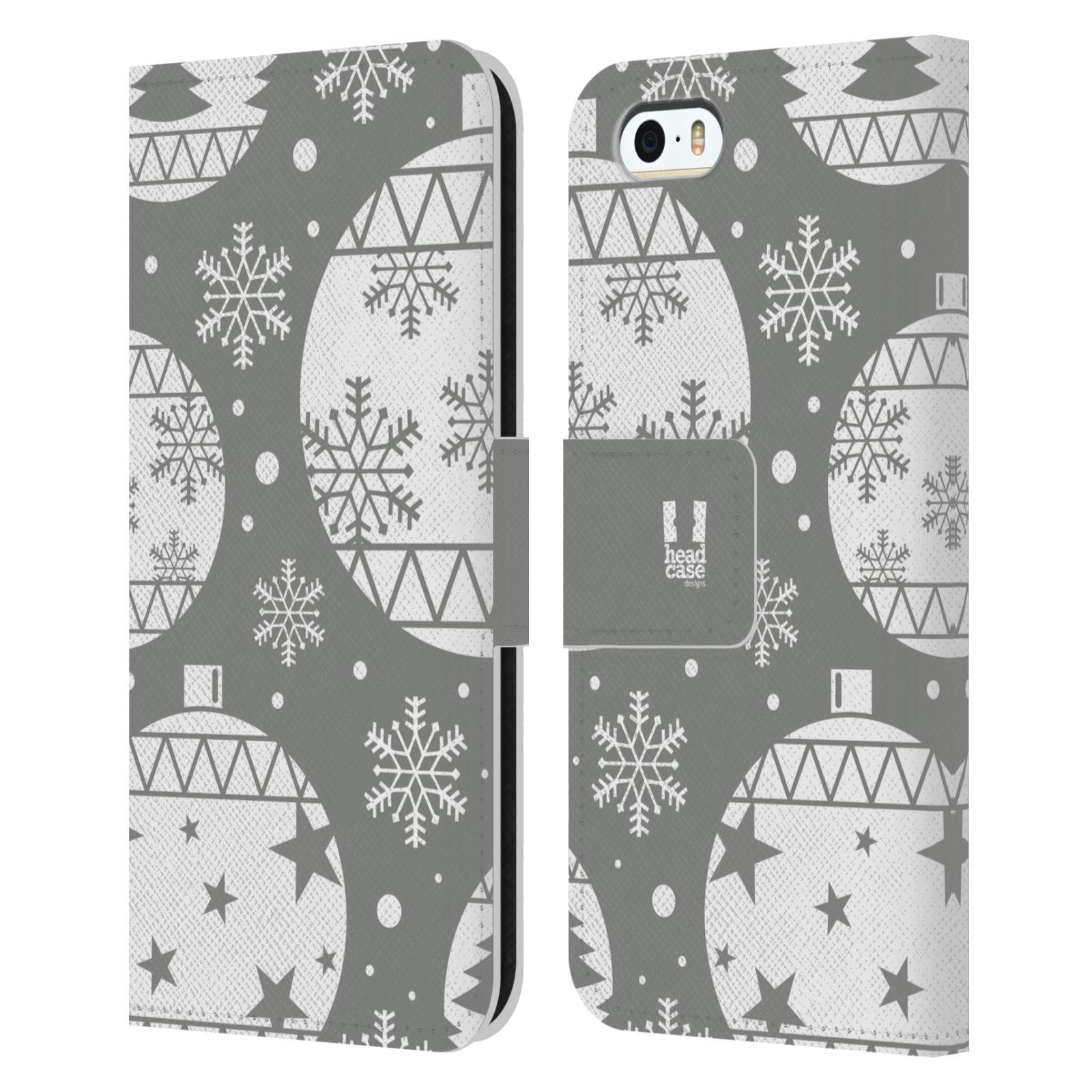 HEAD CASE Flipové pouzdro pro mobil Apple Iphone 5/5s stříbrné vzory vánoční ozdoby
