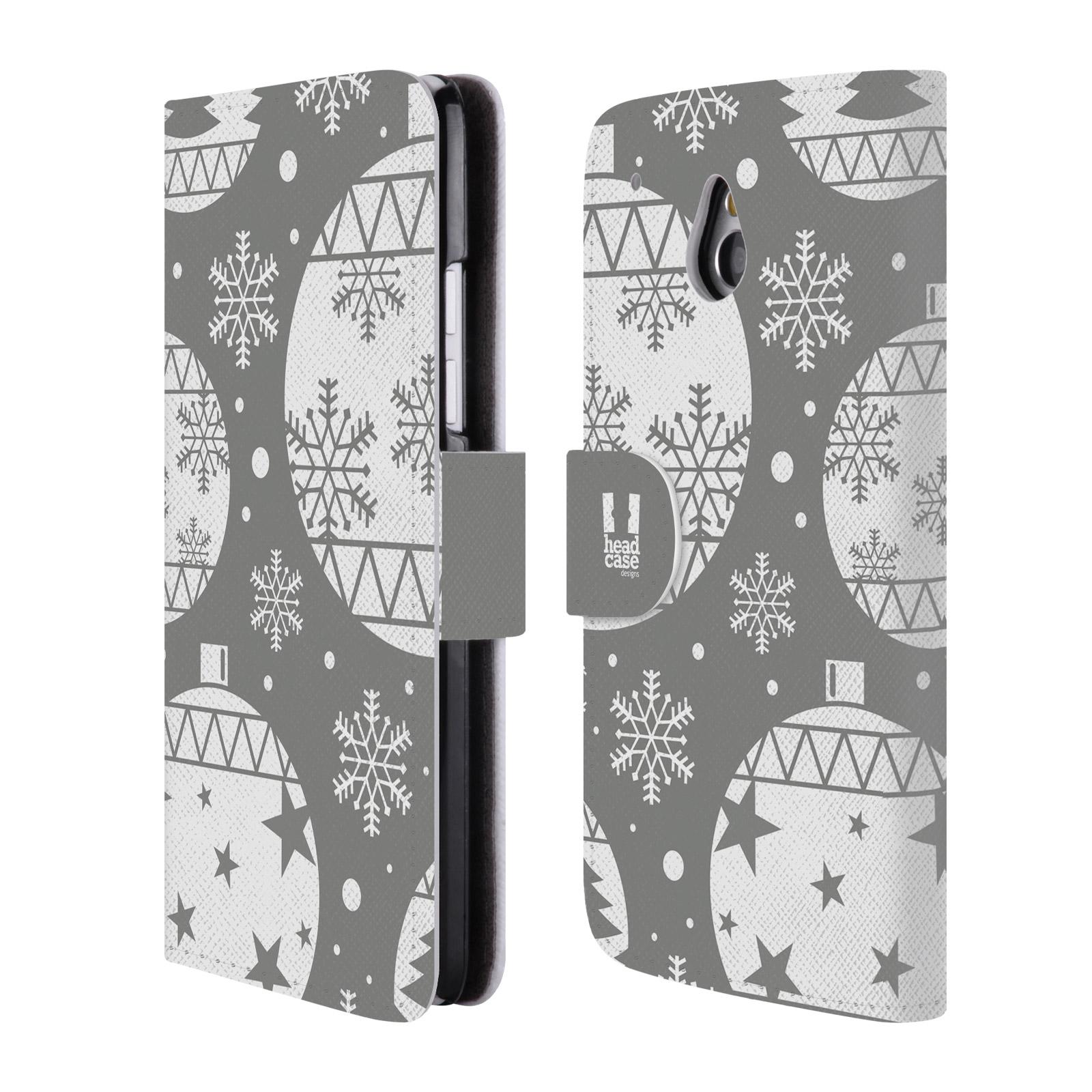 HEAD CASE Flipové pouzdro pro mobil HTC ONE MINI (M4) stříbrné vzory vánoční ozdoby