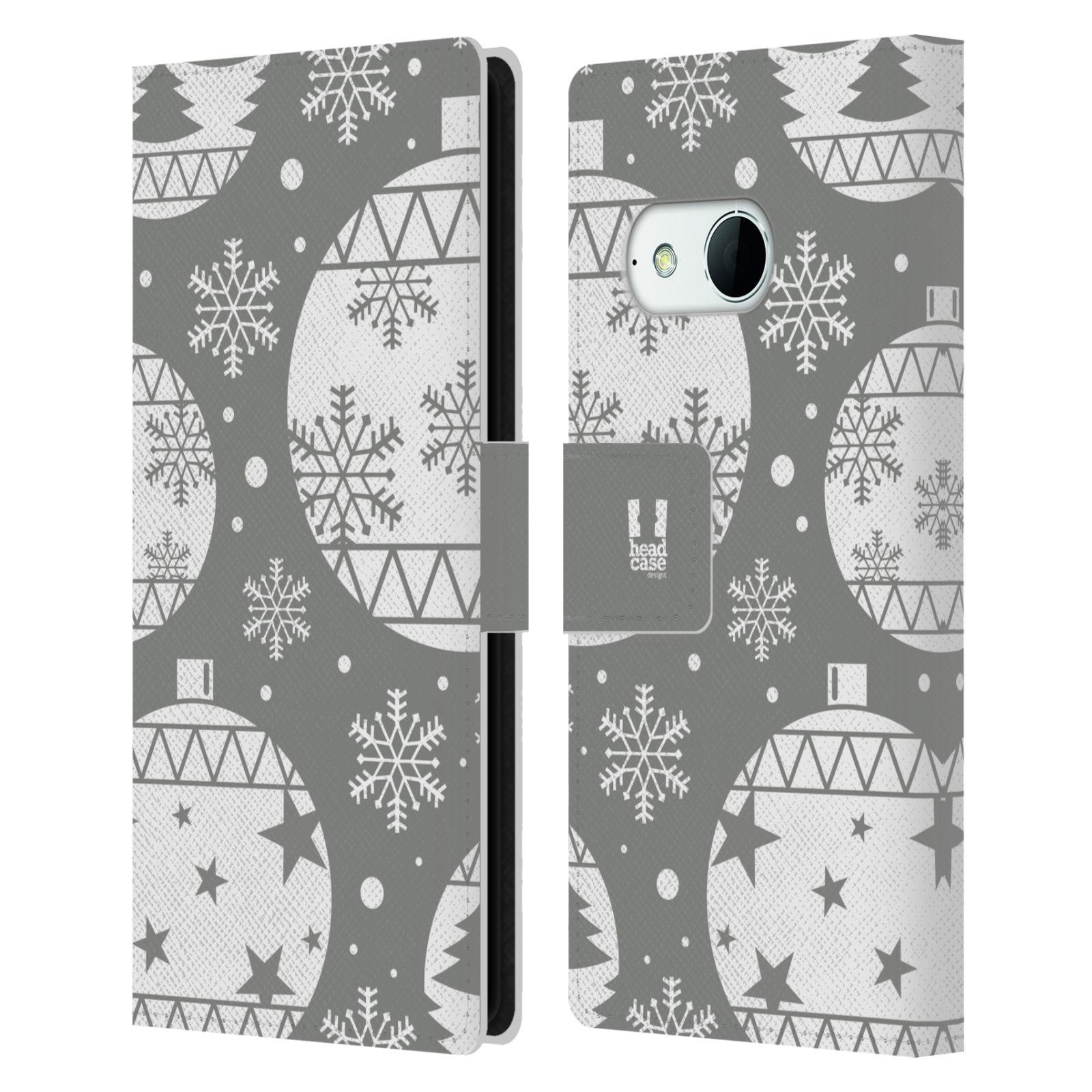 HEAD CASE Flipové pouzdro pro mobil HTC ONE MINI 2 (M8) stříbrné vzory vánoční ozdoby